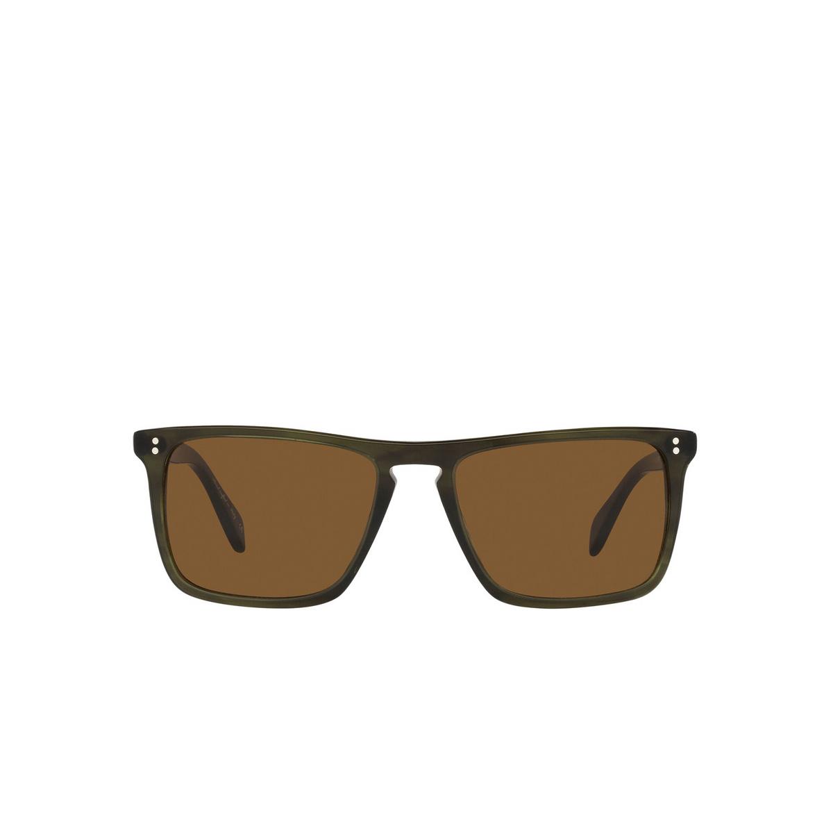Oliver Peoples® Square Sunglasses: Bernardo OV5189S color Emerald Bark 168053 - front view.
