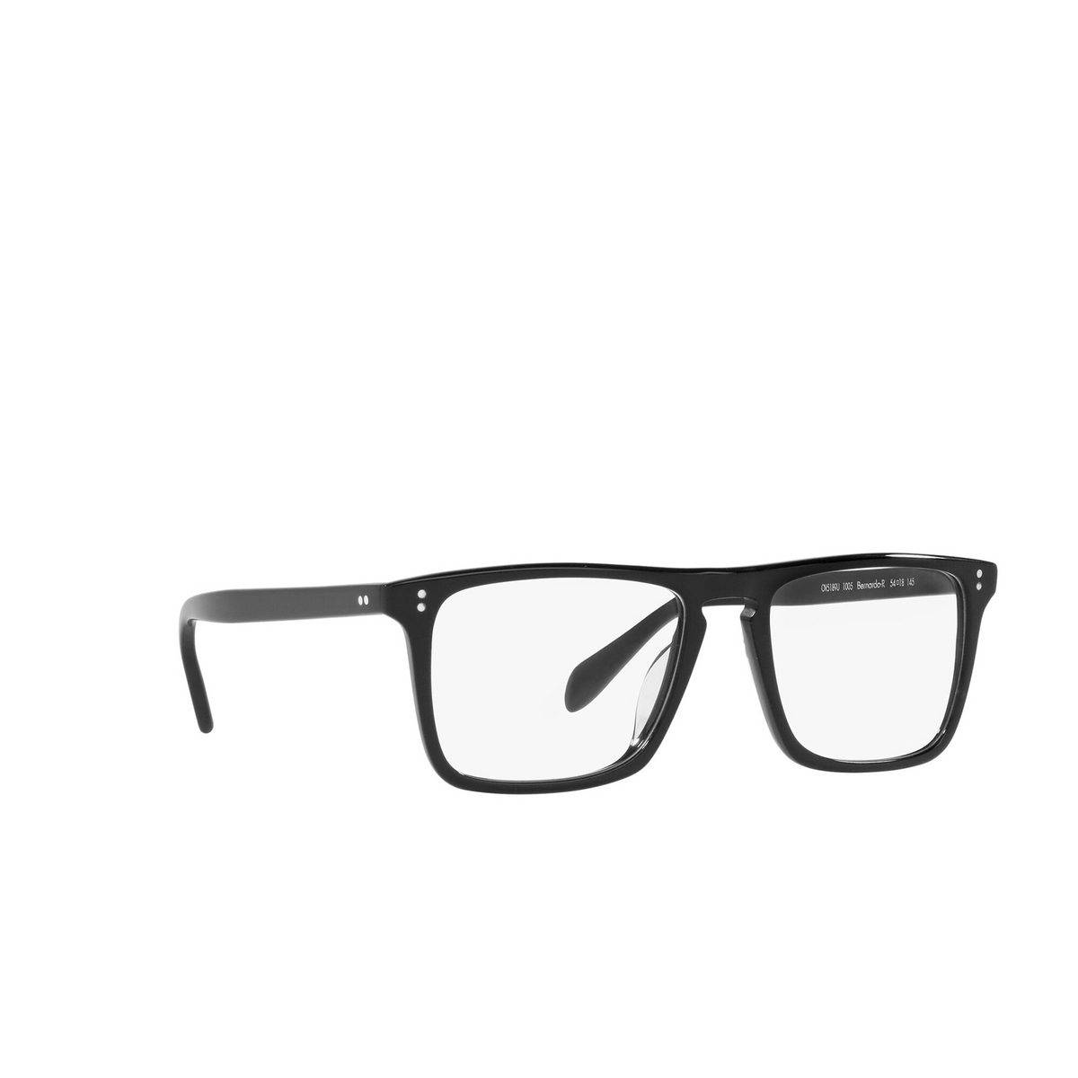 Oliver Peoples® Square Eyeglasses: Bernardo-r OV5189U color Black 1005 - three-quarters view.