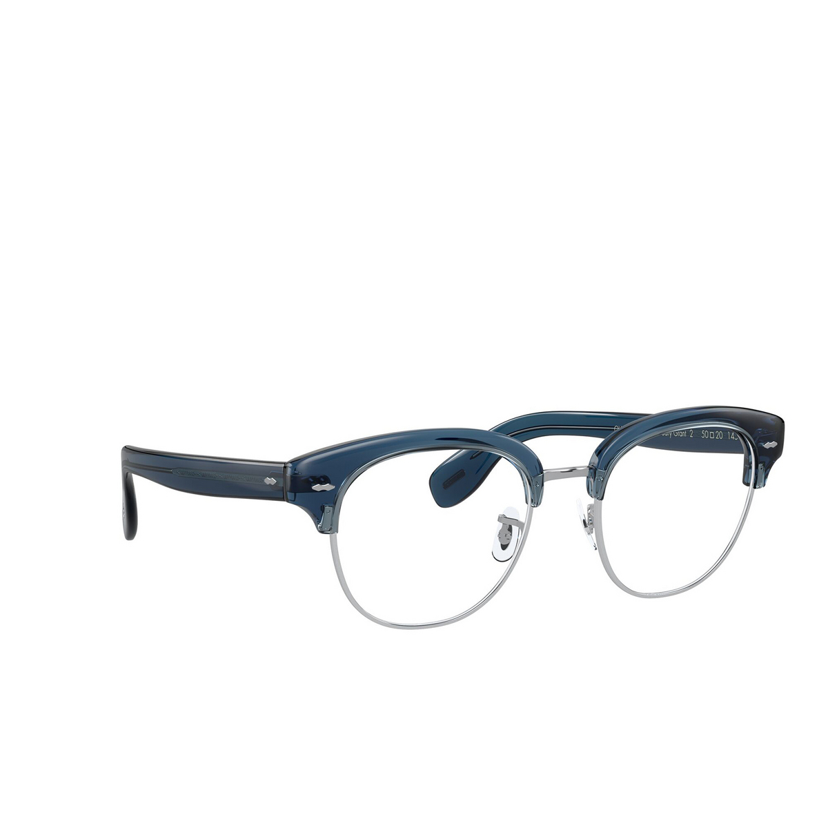 Oliver Peoples® Square Eyeglasses: Cary Grant 2 OV5436 color Deep Blue 1670 - three-quarters view.