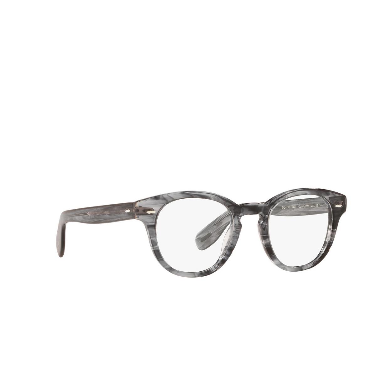 Oliver Peoples® Square Eyeglasses: Cary Grant OV5413U color Navy Smoke 1688 - three-quarters view.