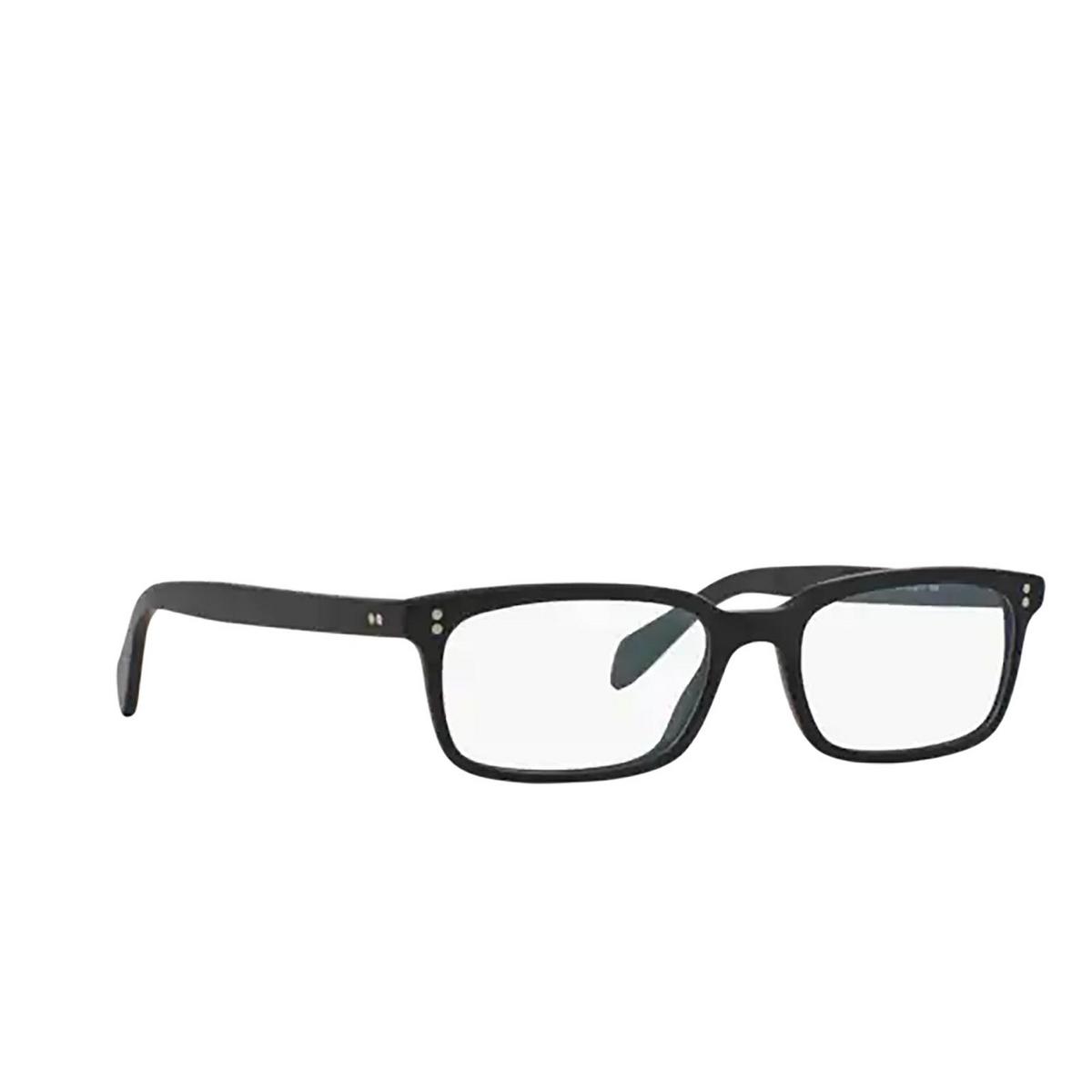 Oliver Peoples® Rectangle Eyeglasses: Denison OV5102 color Matte Black 1031 - three-quarters view.