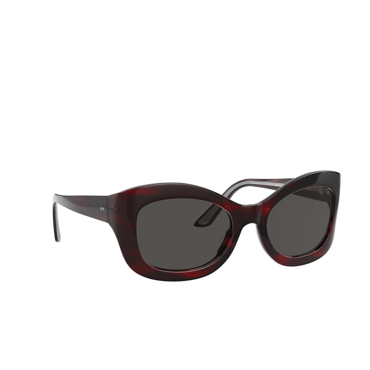 Oliver Peoples® Butterfly Sunglasses: Edina OV5441SU color Bordeaux Bark 167587 - three-quarters view.