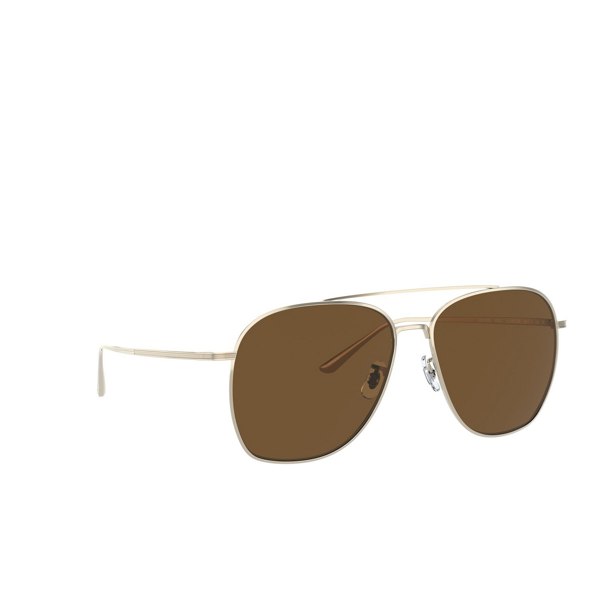 Oliver Peoples® Aviator Sunglasses: Ellerston OV1278ST color Gold 529257 - three-quarters view.