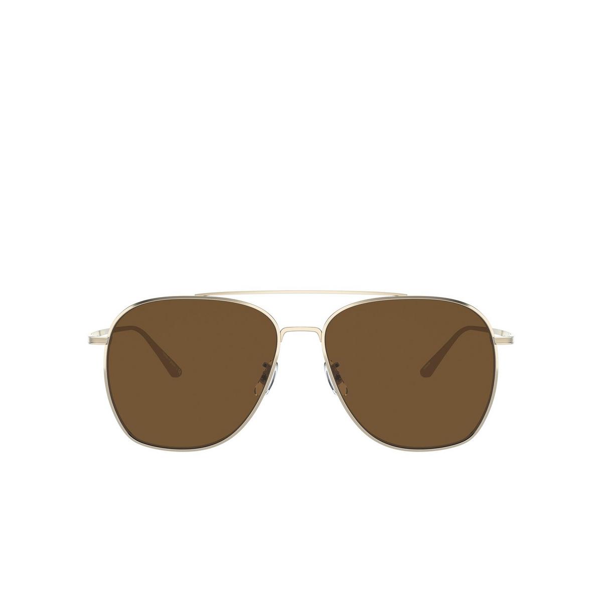 Oliver Peoples® Aviator Sunglasses: Ellerston OV1278ST color Gold 529257 - front view.