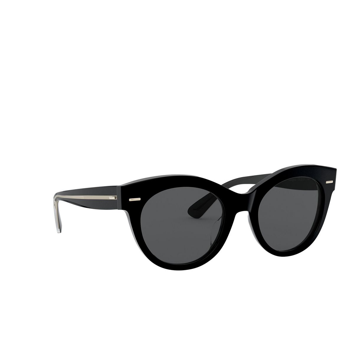 Oliver Peoples® Round Sunglasses: Georgica OV5421SU color Black 100581 - three-quarters view.