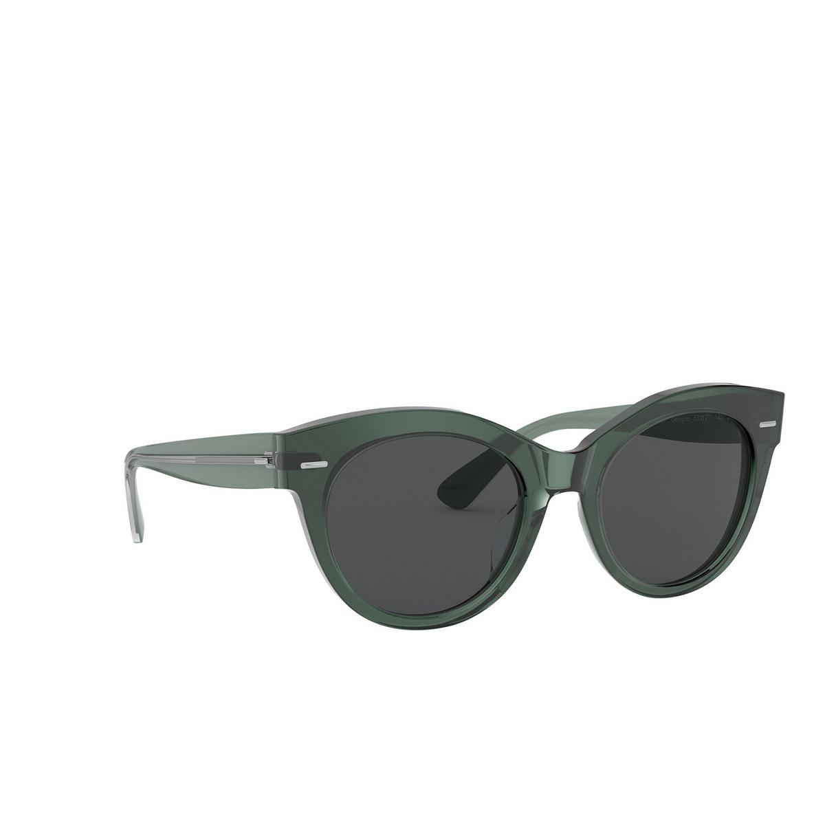 Oliver Peoples® Round Sunglasses: Georgica OV5421SU color Ivy 154787 - three-quarters view.