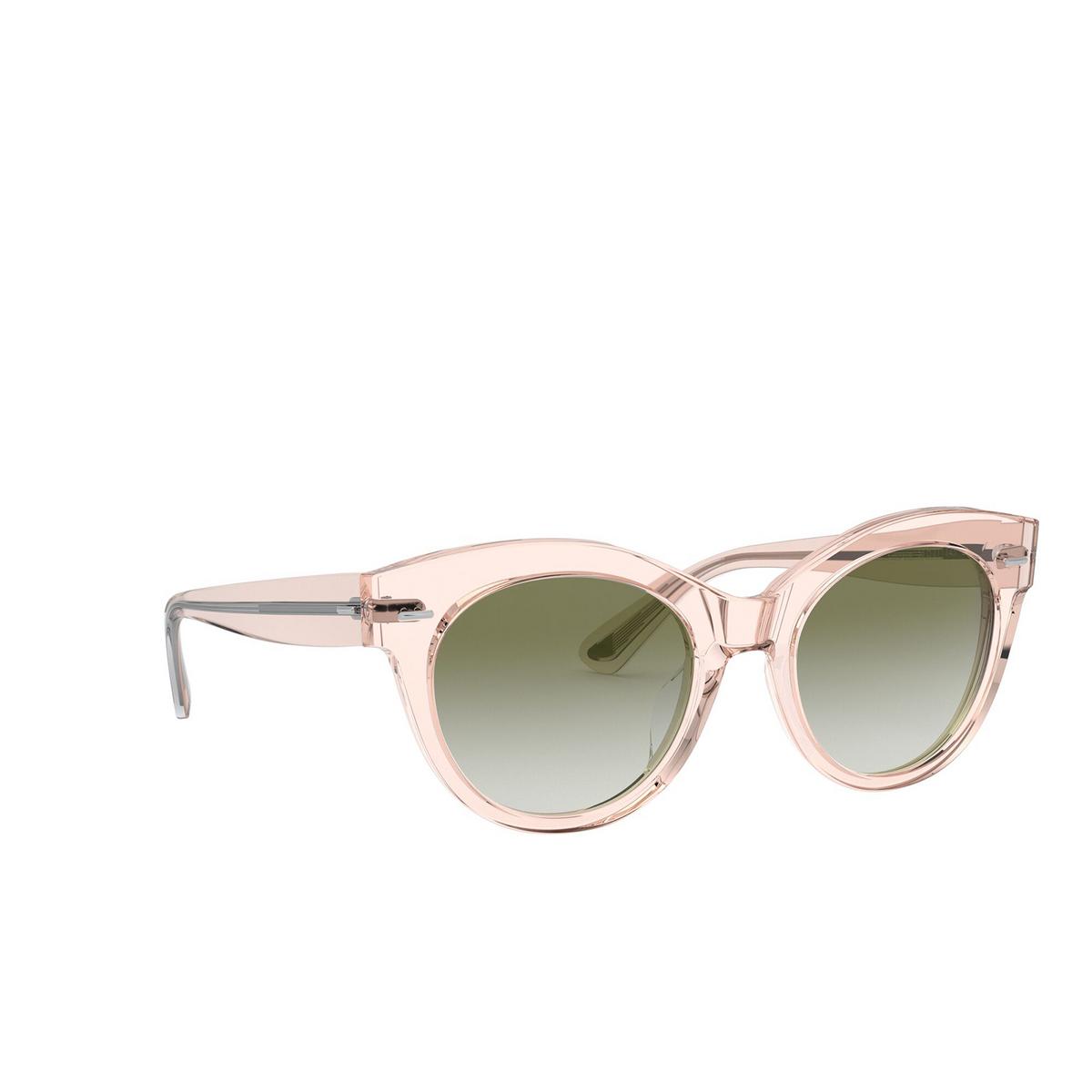 Oliver Peoples® Round Sunglasses: Georgica OV5421SU color Light Silk 16528E - three-quarters view.