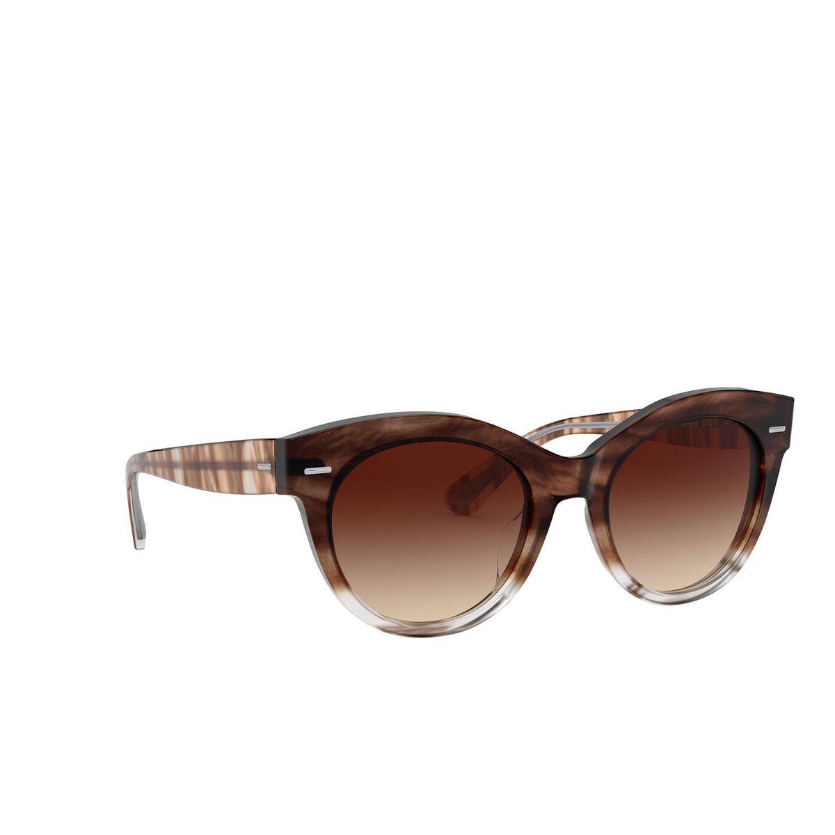 Oliver Peoples® Round Sunglasses: Georgica OV5421SU color Brick Ombre 168513 - three-quarters view.