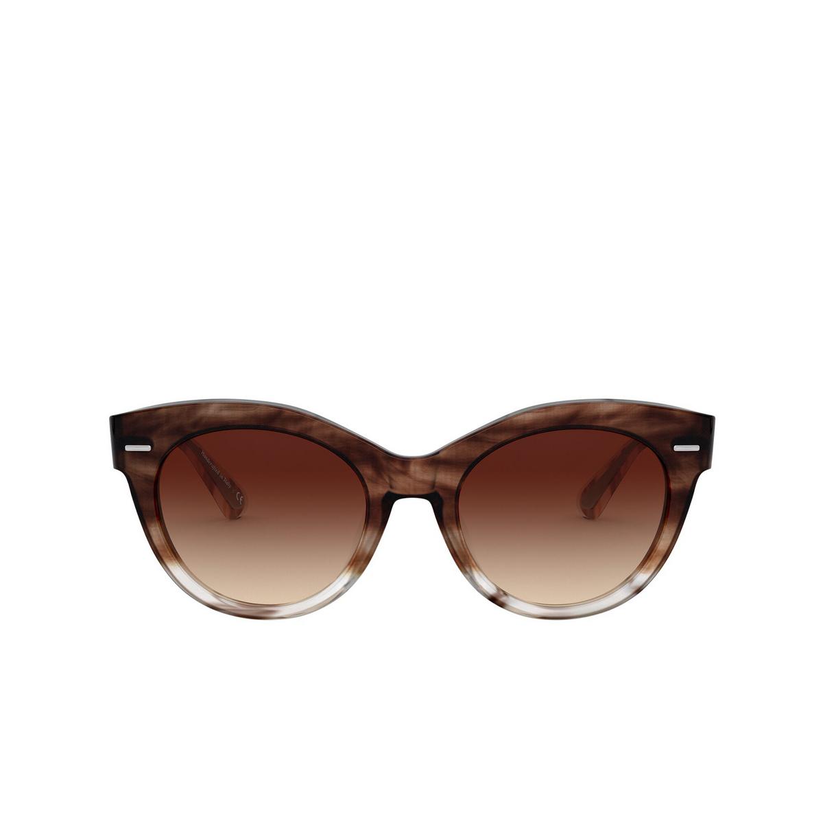 Oliver Peoples® Round Sunglasses: Georgica OV5421SU color Brick Ombre 168513 - front view.