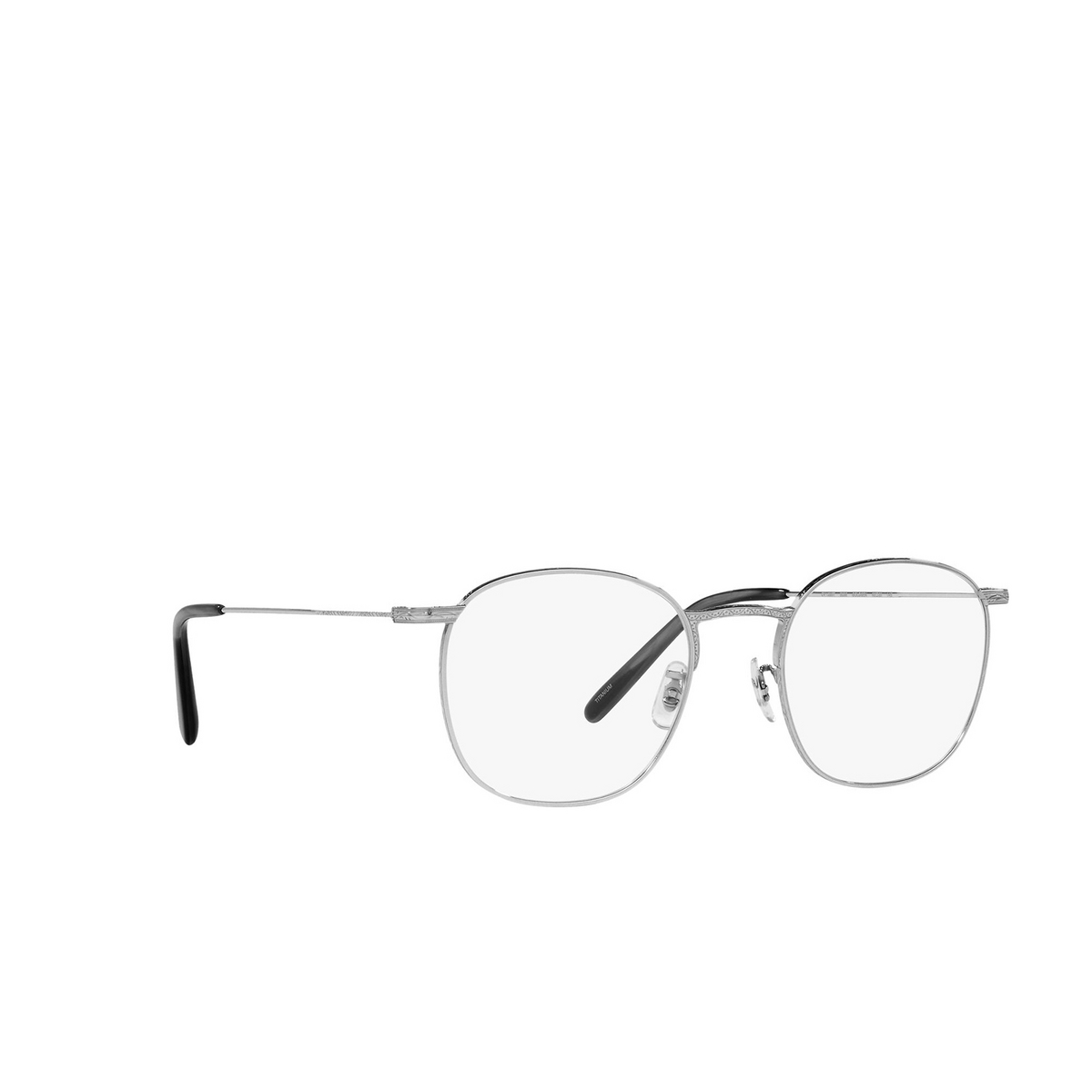 Oliver Peoples® Square Eyeglasses: Goldsen OV1285T color Silver 5036 - three-quarters view.