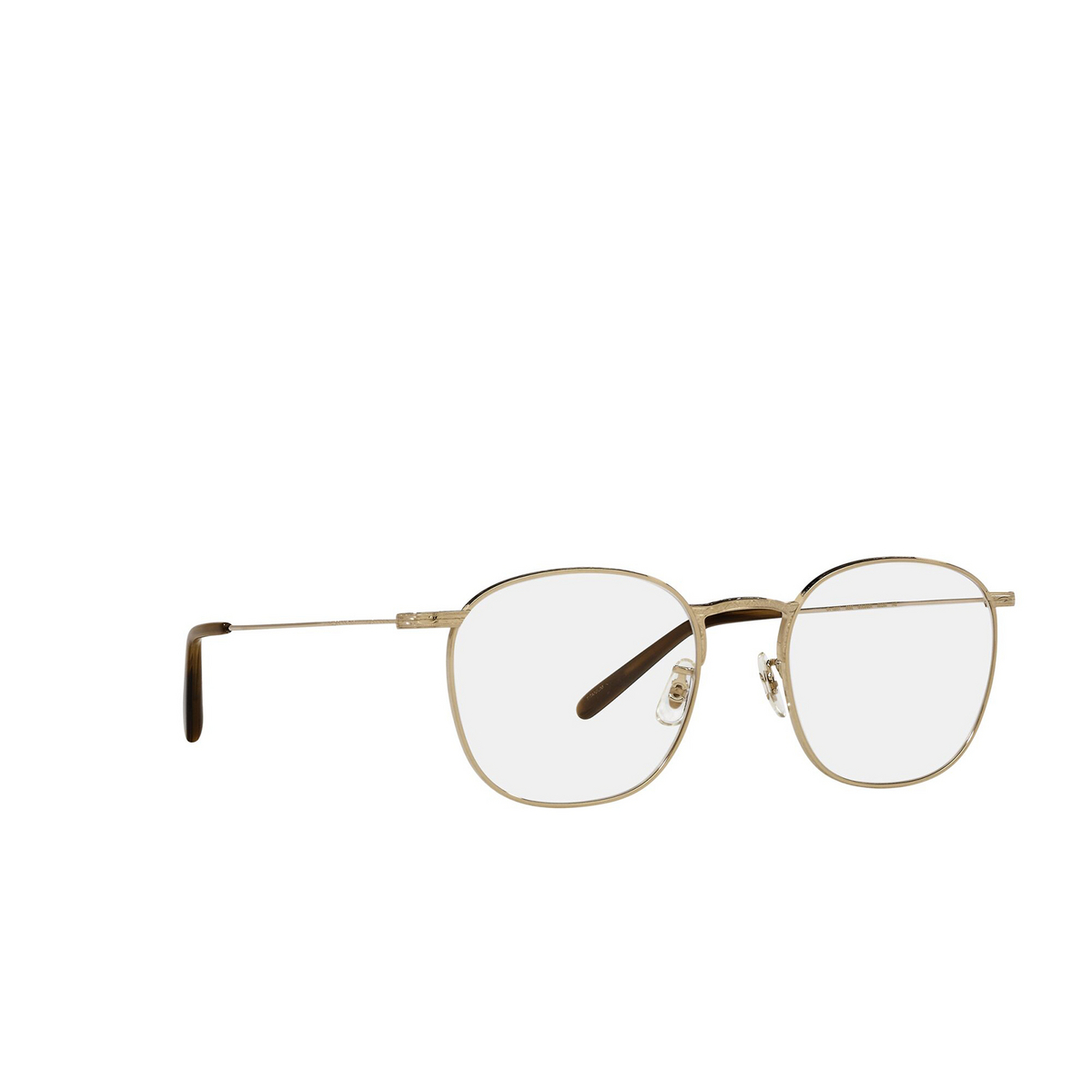 Oliver Peoples® Square Eyeglasses: Goldsen OV1285T color White Gold 5292 - three-quarters view.