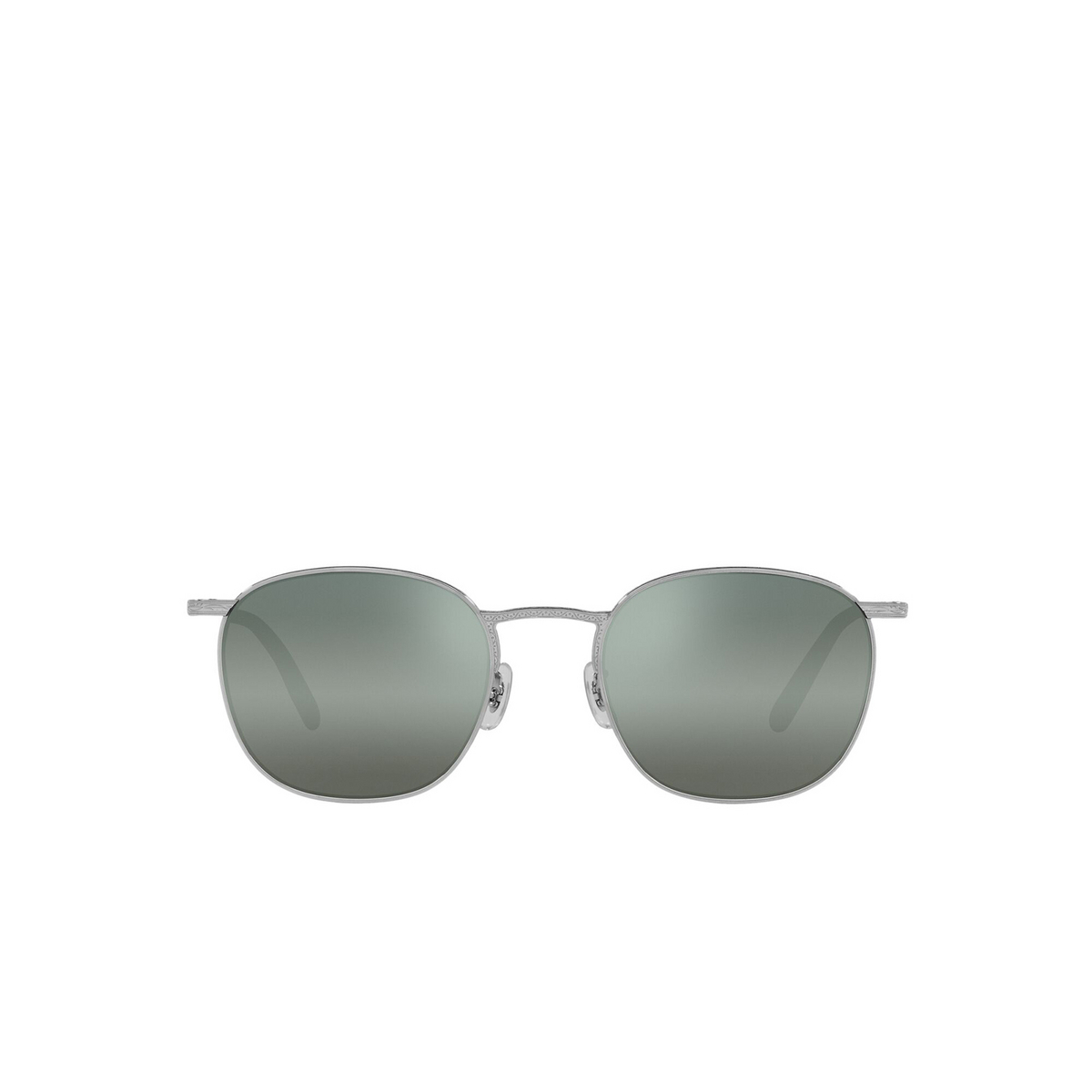 Oliver Peoples® Square Sunglasses: Goldsen Sun OV1285ST color Silver 503641 - front view.