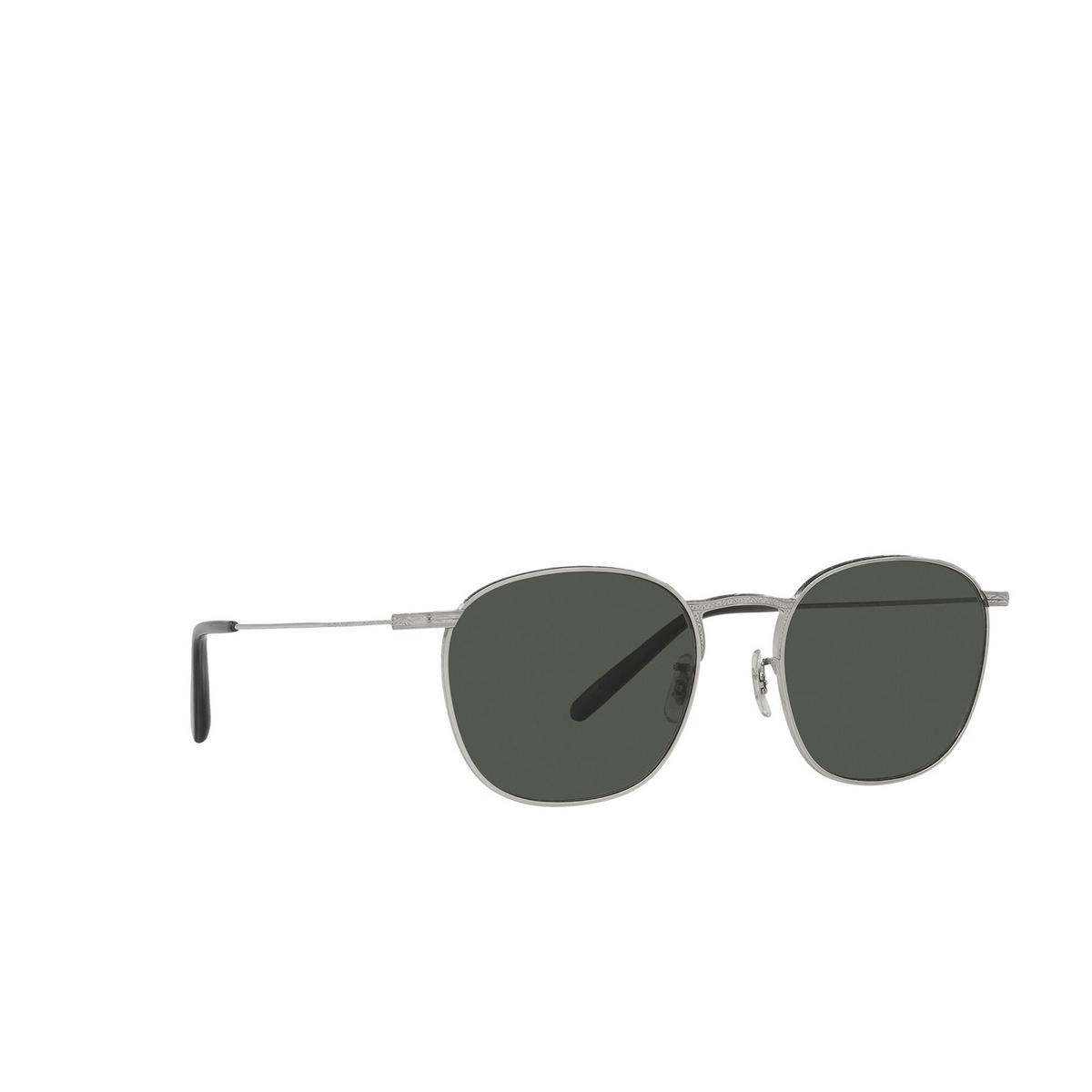 Oliver Peoples® Square Sunglasses: Goldsen Sun OV1285ST color Silver 5036P2 - three-quarters view.