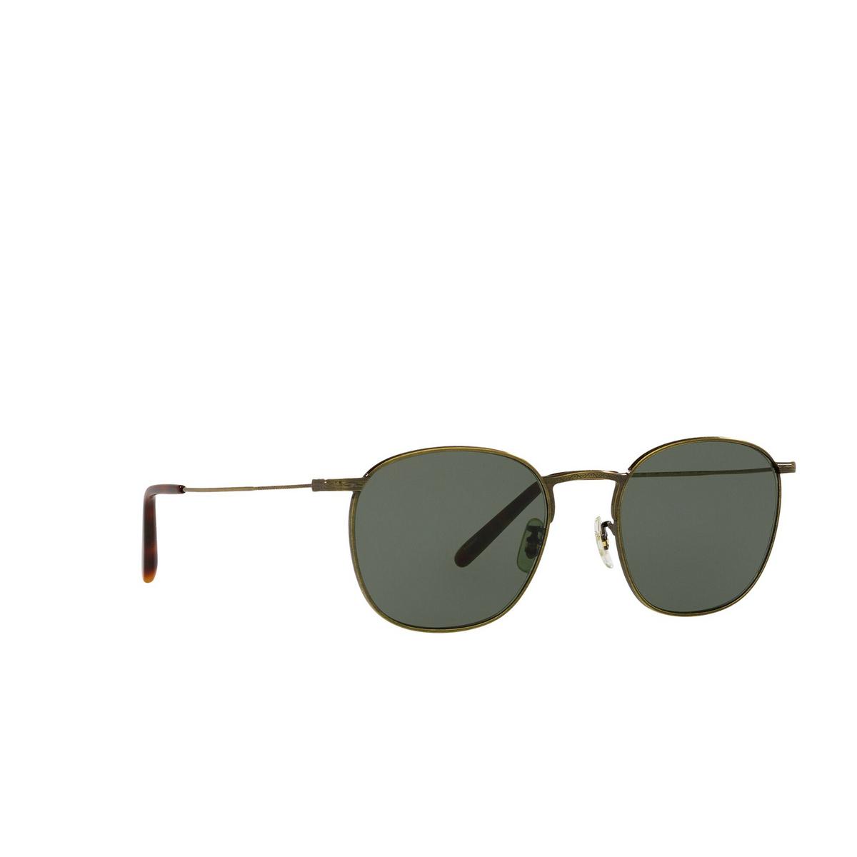 Oliver Peoples® Square Sunglasses: Goldsen Sun OV1285ST color Antique Gold 528452 - three-quarters view.