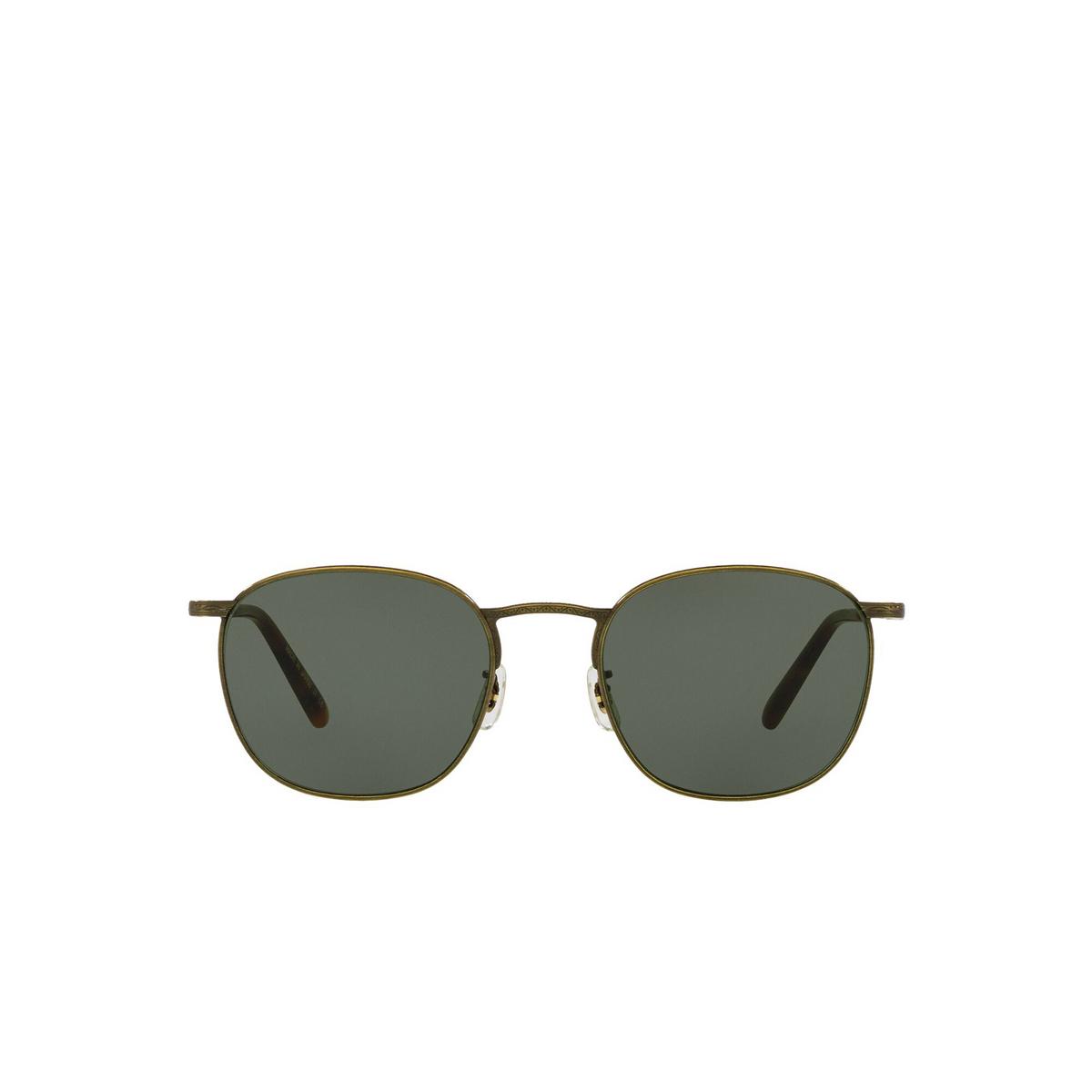 Oliver Peoples® Square Sunglasses: Goldsen Sun OV1285ST color Antique Gold 528452 - front view.