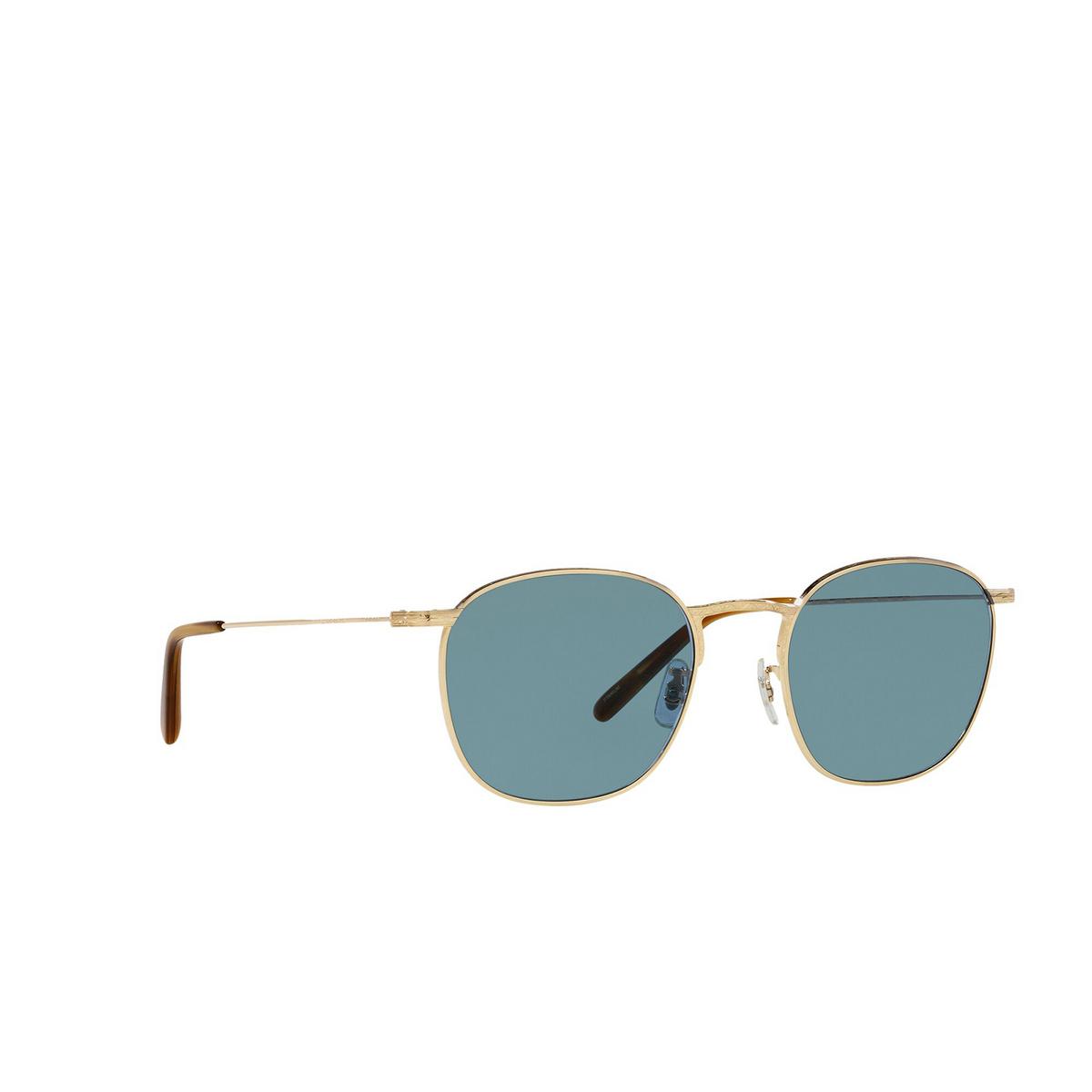 Oliver Peoples® Square Sunglasses: Goldsen Sun OV1285ST color Gold 529256 - three-quarters view.