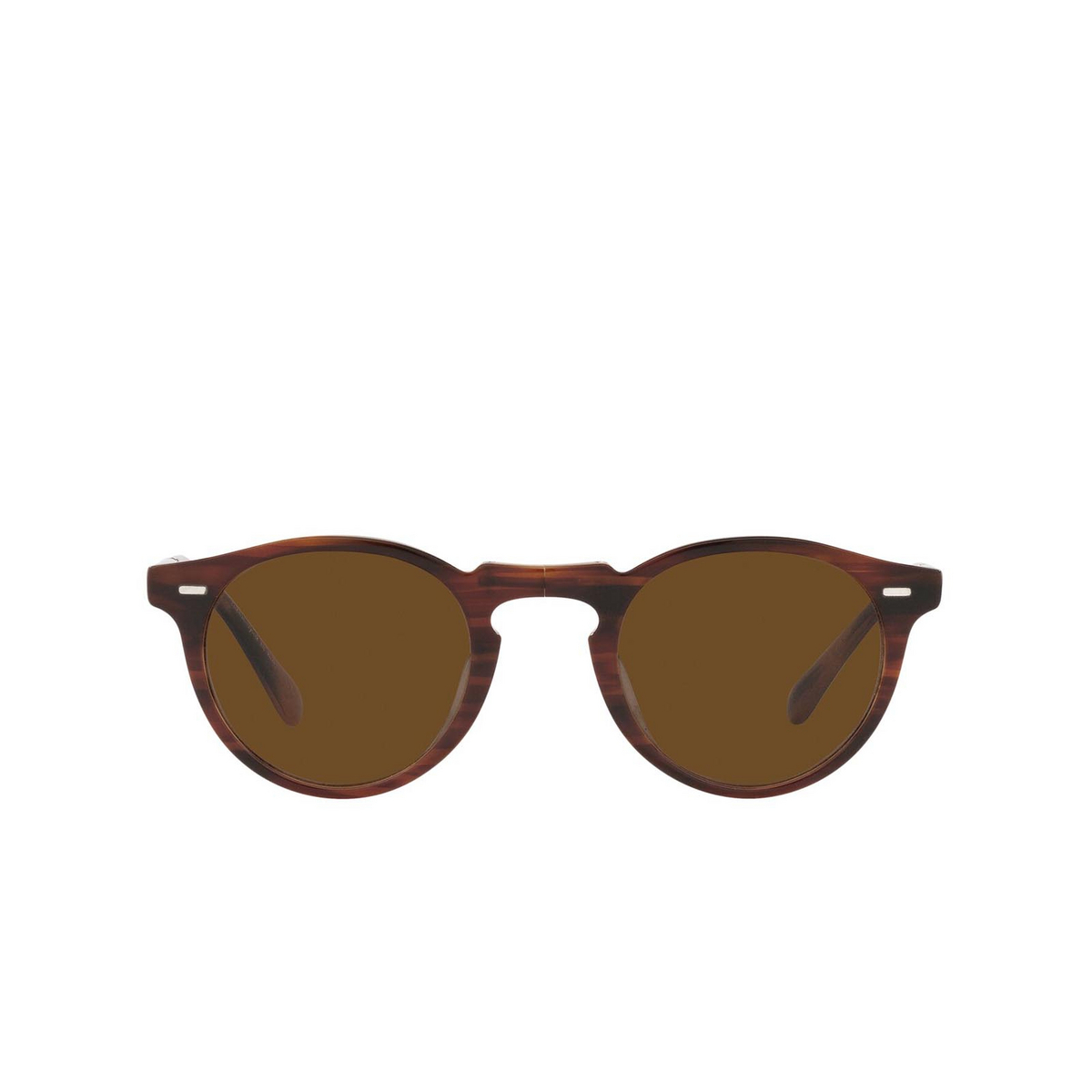 Oliver Peoples® Round Sunglasses: Gregory Peck 1962 OV5456SU color Amaretto / Striped Honey 131057 - front view.