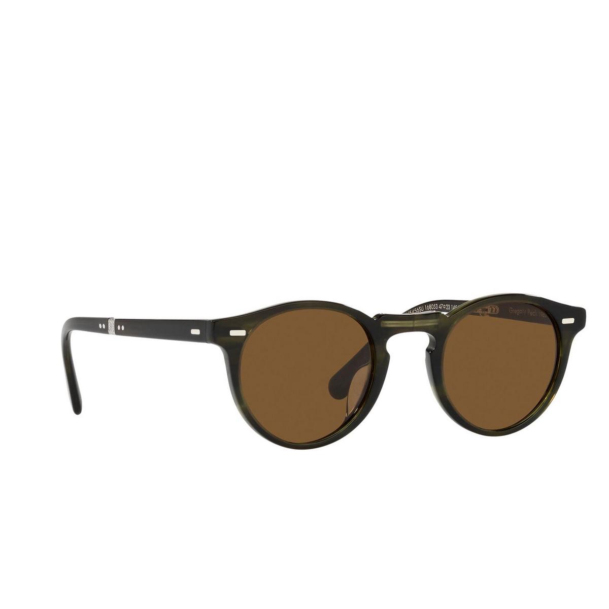 Oliver Peoples® Round Sunglasses: Gregory Peck 1962 OV5456SU color Emerald Bark 168053 - three-quarters view.