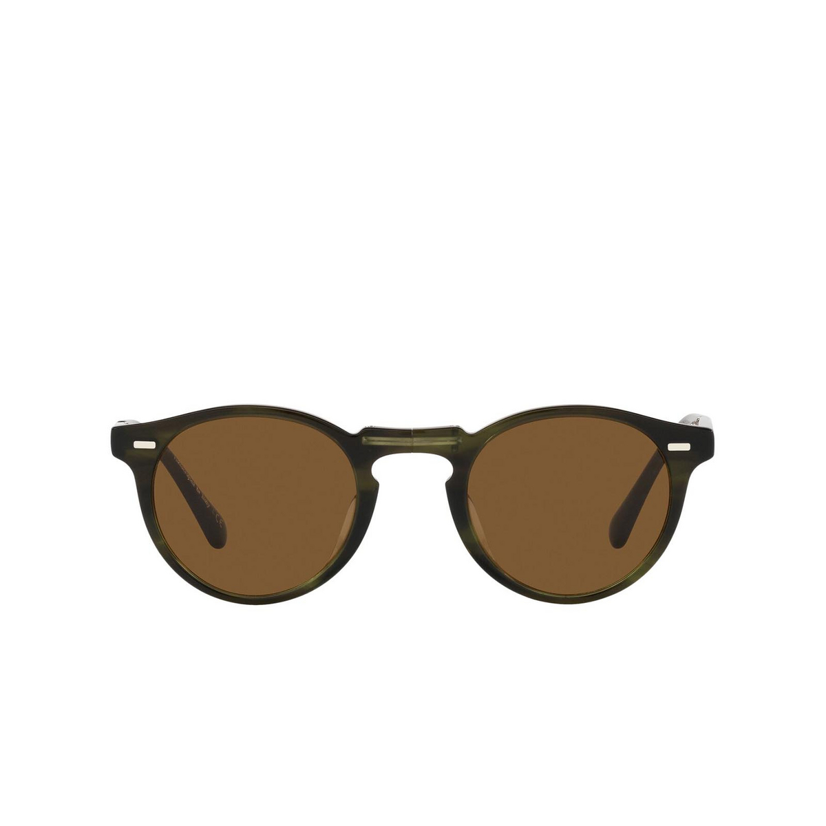 Oliver Peoples® Round Sunglasses: Gregory Peck 1962 OV5456SU color Emerald Bark 168053 - front view.