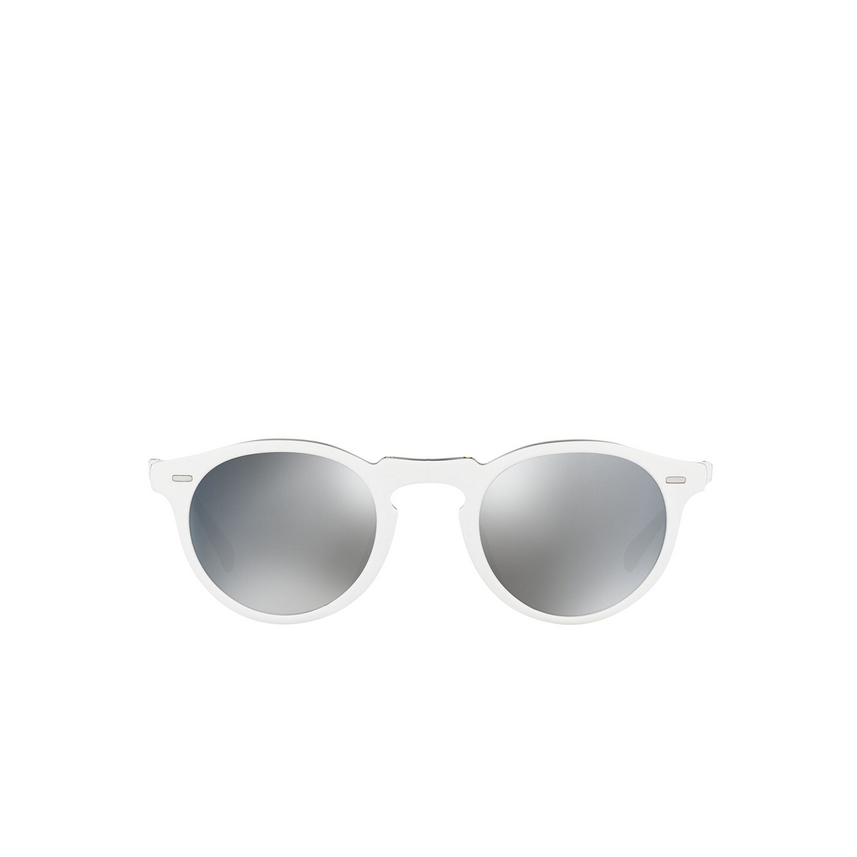 Oliver Peoples® Round Sunglasses: Gregory Peck 1962 OV5456SU color White 168740 - front view.