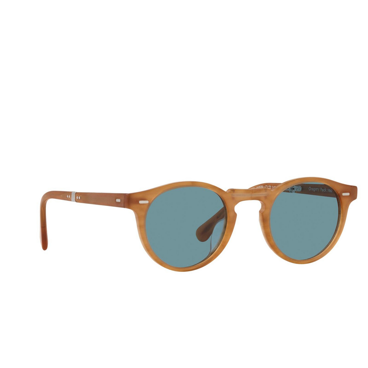 Oliver Peoples® Round Sunglasses: Gregory Peck 1962 OV5456SU color Semi Matte Amber Tortoise 169956 - three-quarters view.