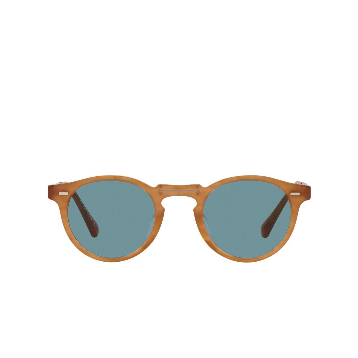 Oliver Peoples® Round Sunglasses: Gregory Peck 1962 OV5456SU color Semi Matte Amber Tortoise 169956 - front view.