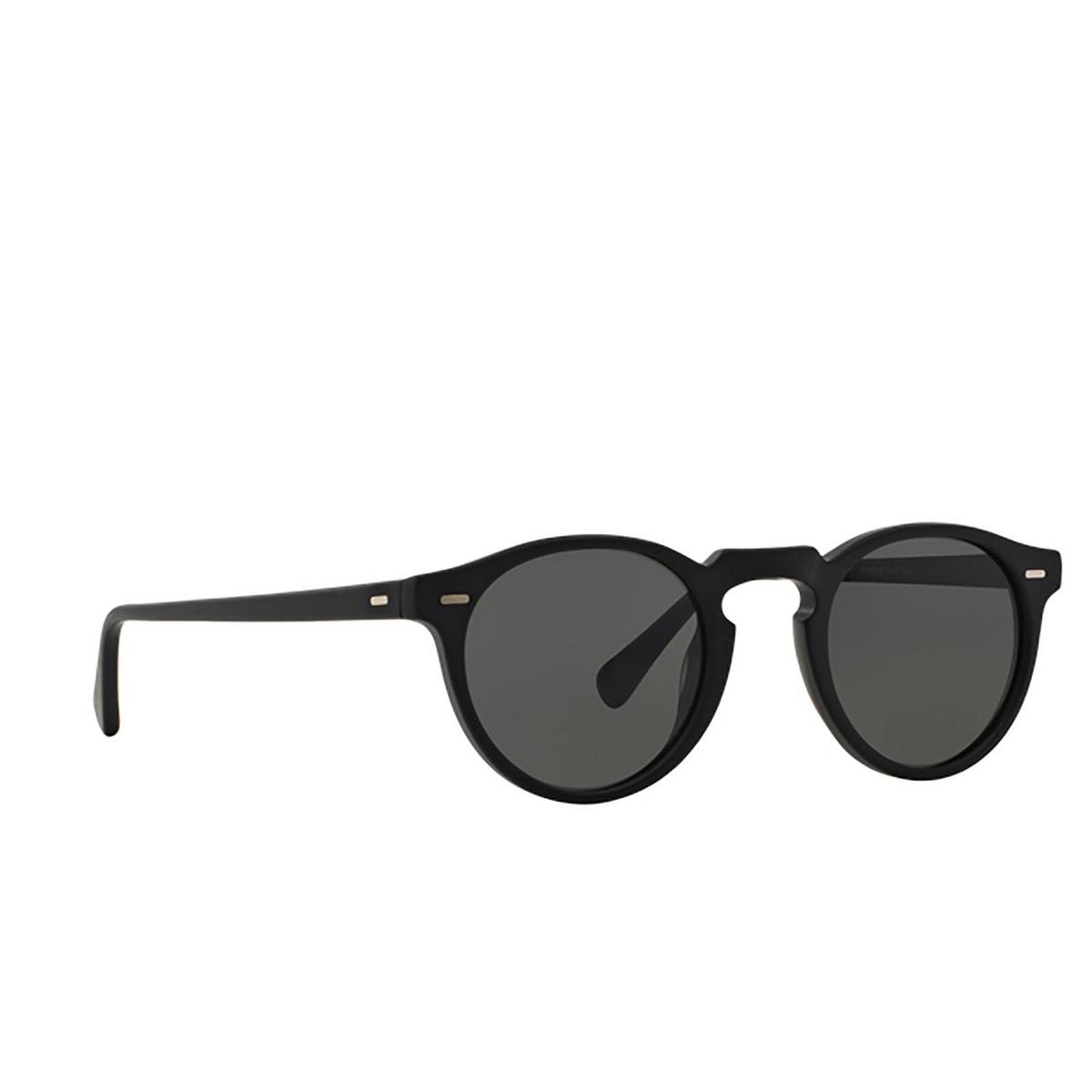 Oliver Peoples® Round Sunglasses: Gregory Peck Sun OV5217S color Semi Matte Black 1031P2 - three-quarters view.
