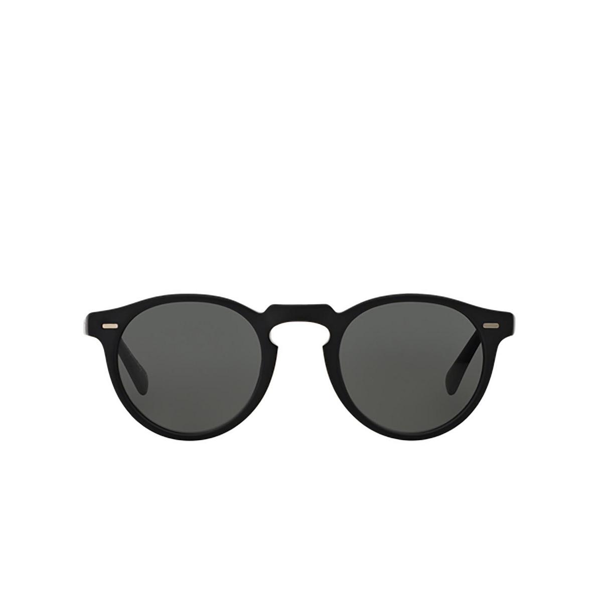 Oliver Peoples® Round Sunglasses: Gregory Peck Sun OV5217S color Semi Matte Black 1031P2 - front view.
