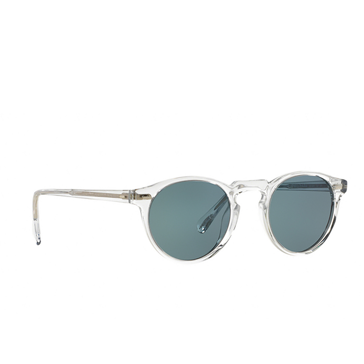Oliver Peoples® Round Sunglasses: Gregory Peck Sun OV5217S color Crystal 1101R8 - three-quarters view.