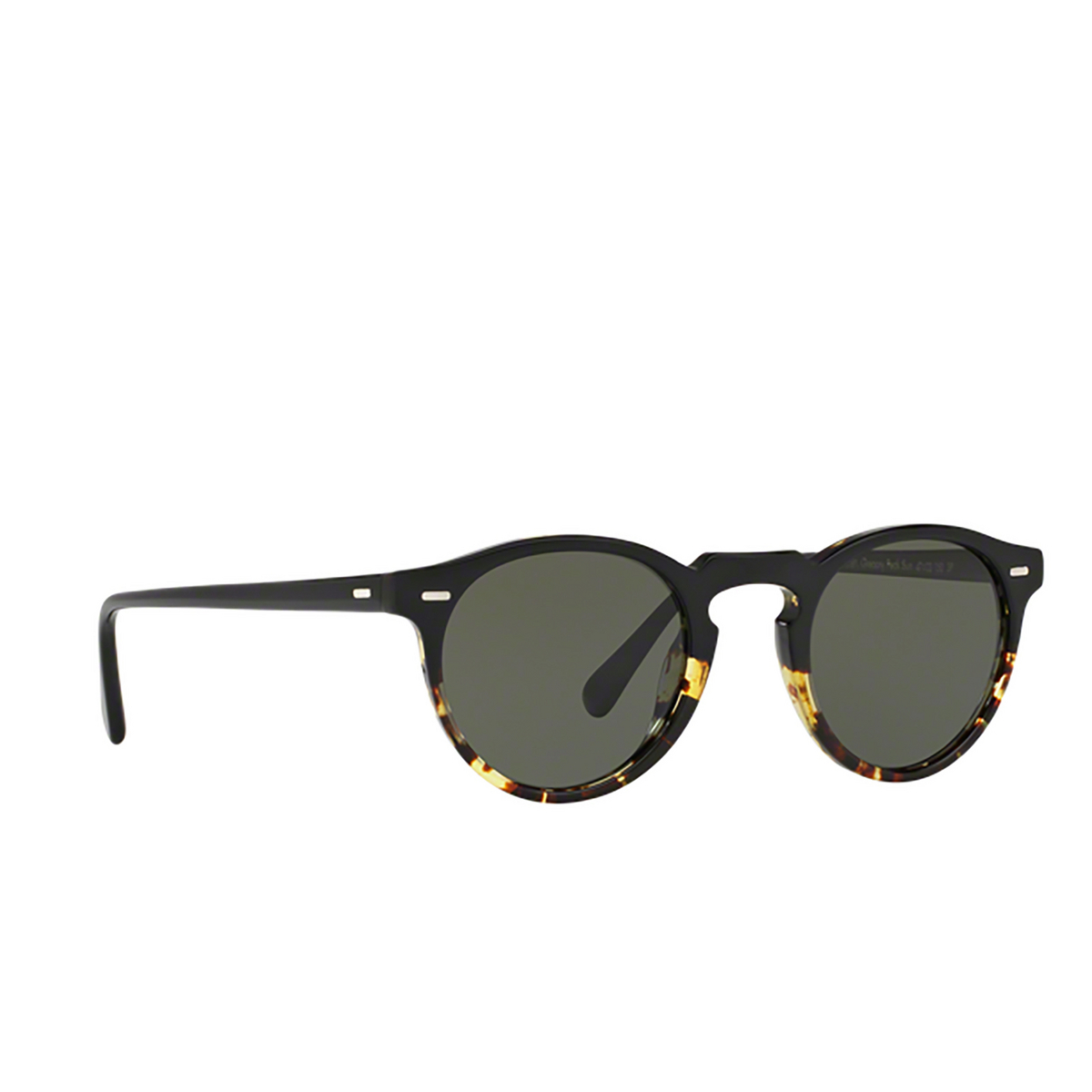 Oliver Peoples® Round Sunglasses: Gregory Peck Sun OV5217S color Black / Dtbk Gradient 1178P1 - three-quarters view.