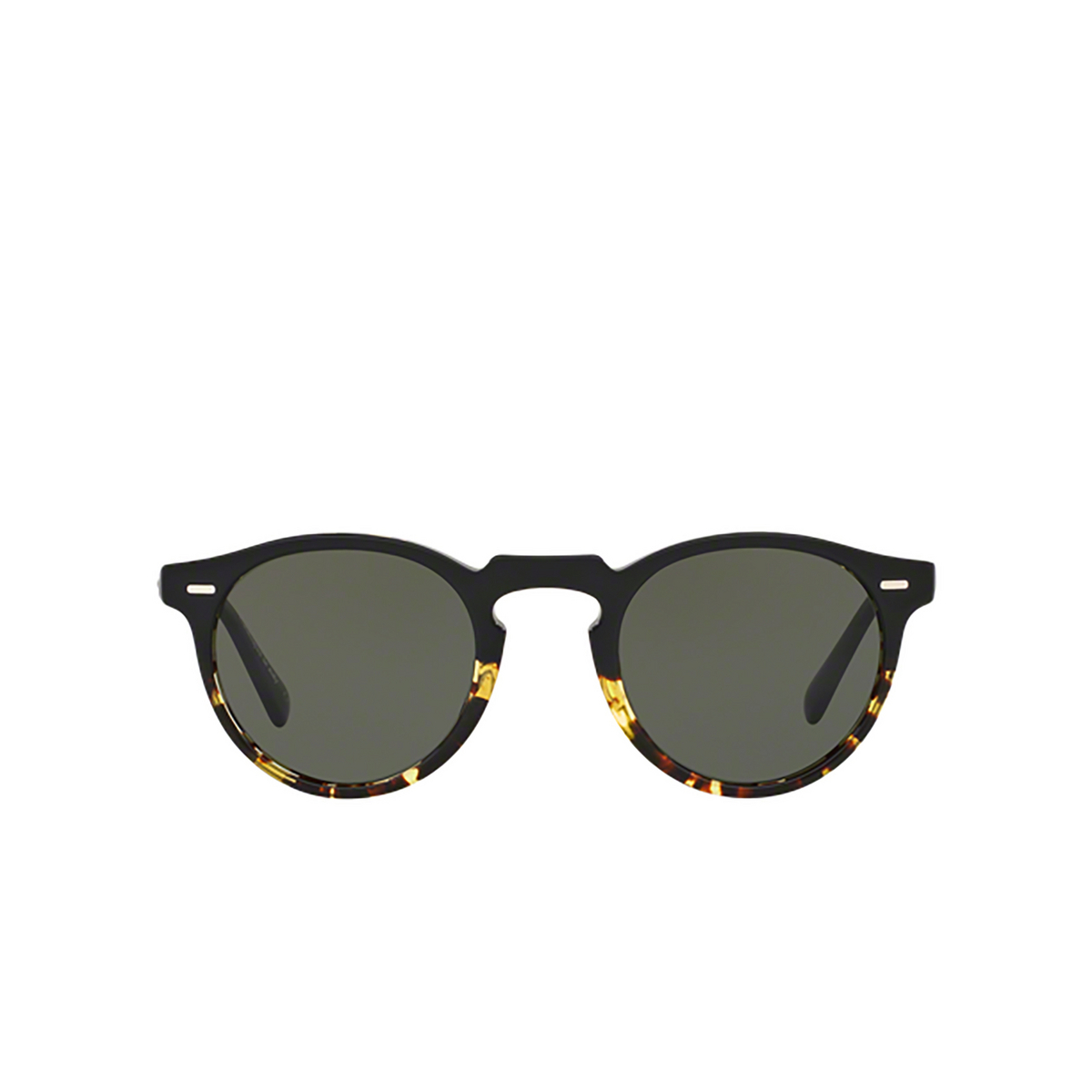 Oliver Peoples® Round Sunglasses: Gregory Peck Sun OV5217S color Black / Dtbk Gradient 1178P1 - front view.