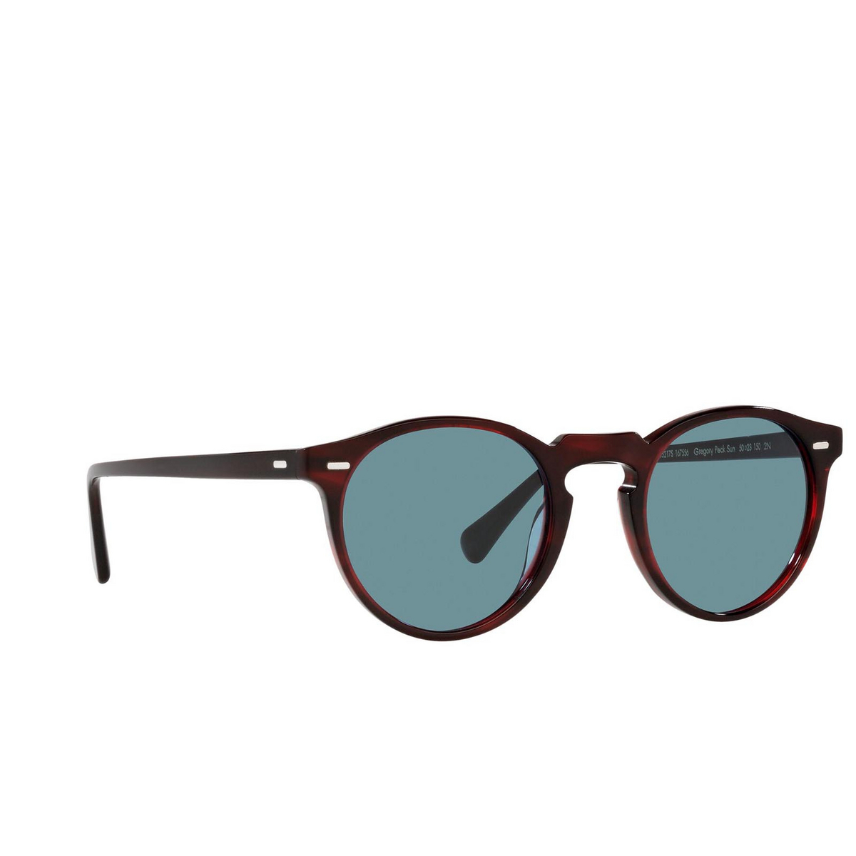 Oliver Peoples® Round Sunglasses: Gregory Peck Sun OV5217S color Bordeaux Bark 167556 - three-quarters view.