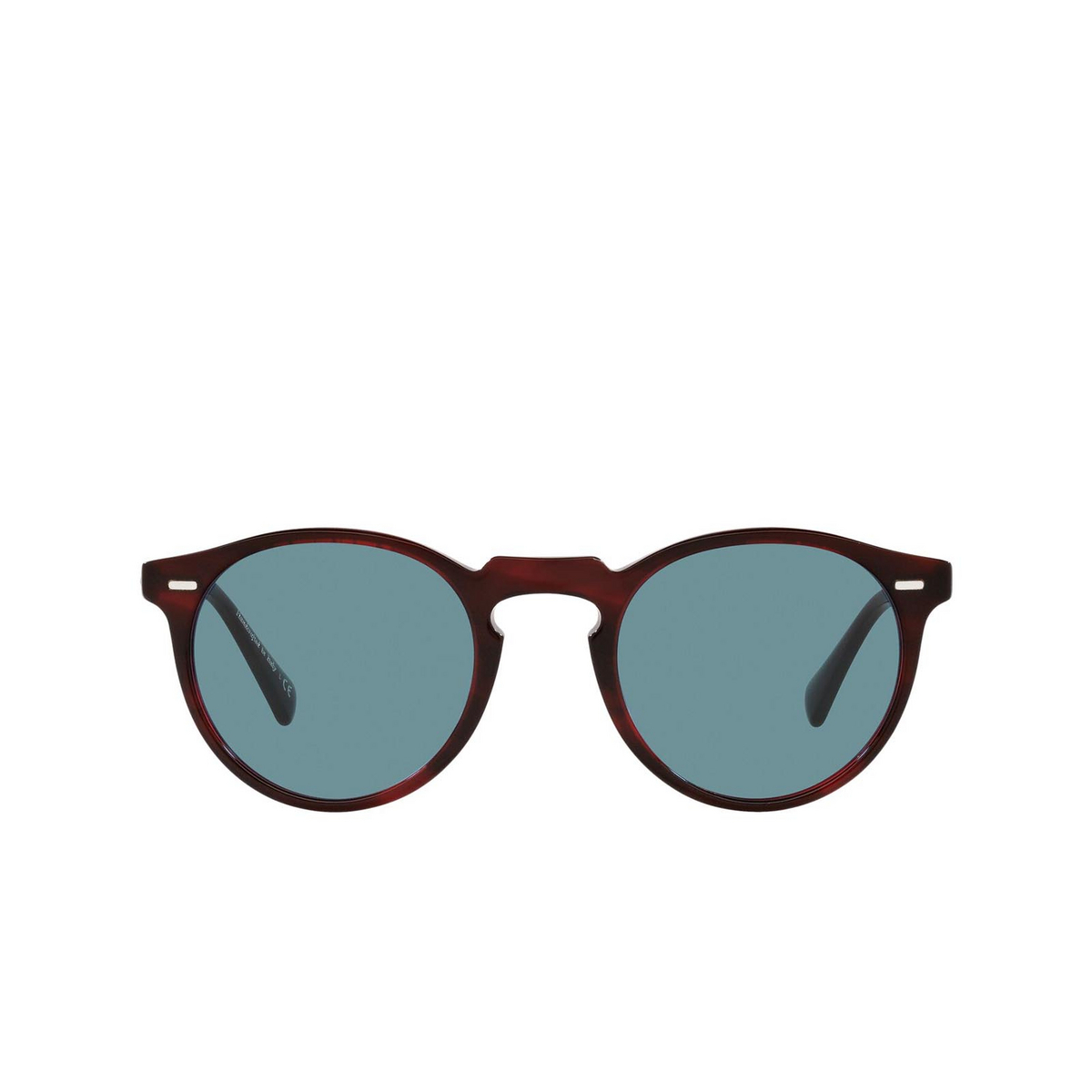 Oliver Peoples® Round Sunglasses: Gregory Peck Sun OV5217S color Bordeaux Bark 167556 - front view.