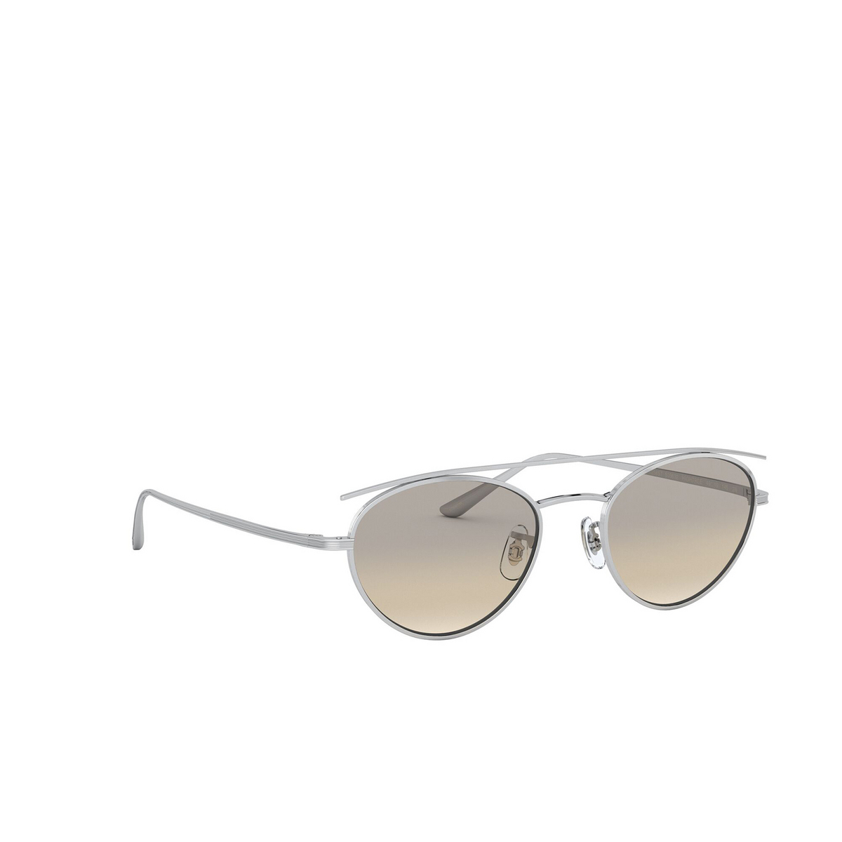 Oliver Peoples® Oval Sunglasses: Hightree OV1258ST color Silver 503632 - three-quarters view.