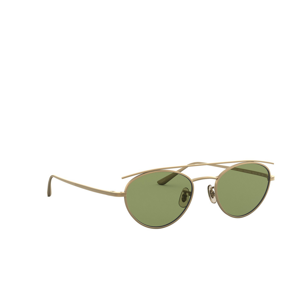 Oliver Peoples® Oval Sunglasses: Hightree OV1258ST color Antique Gold 528452 - three-quarters view.