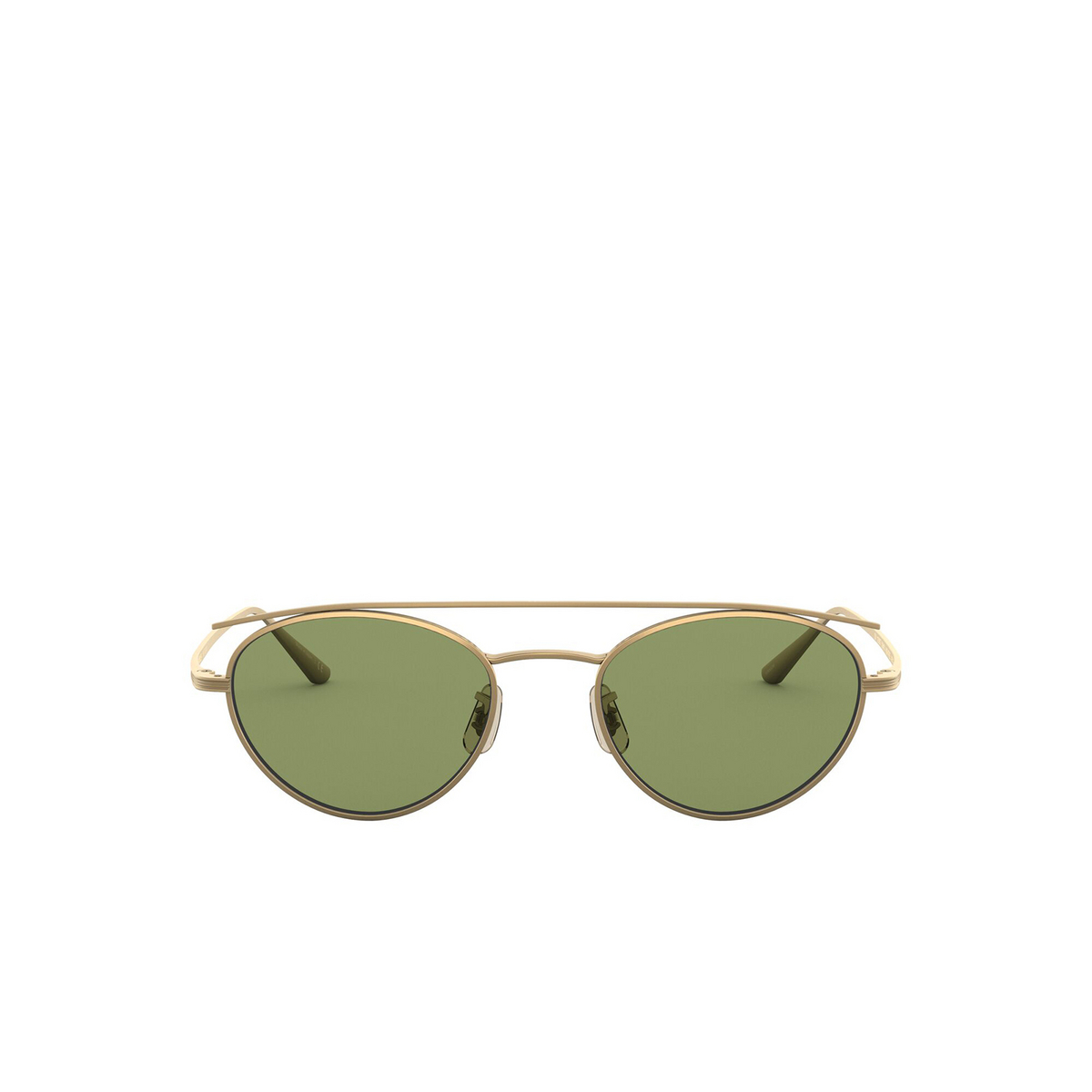 Oliver Peoples® Oval Sunglasses: Hightree OV1258ST color Antique Gold 528452 - front view.