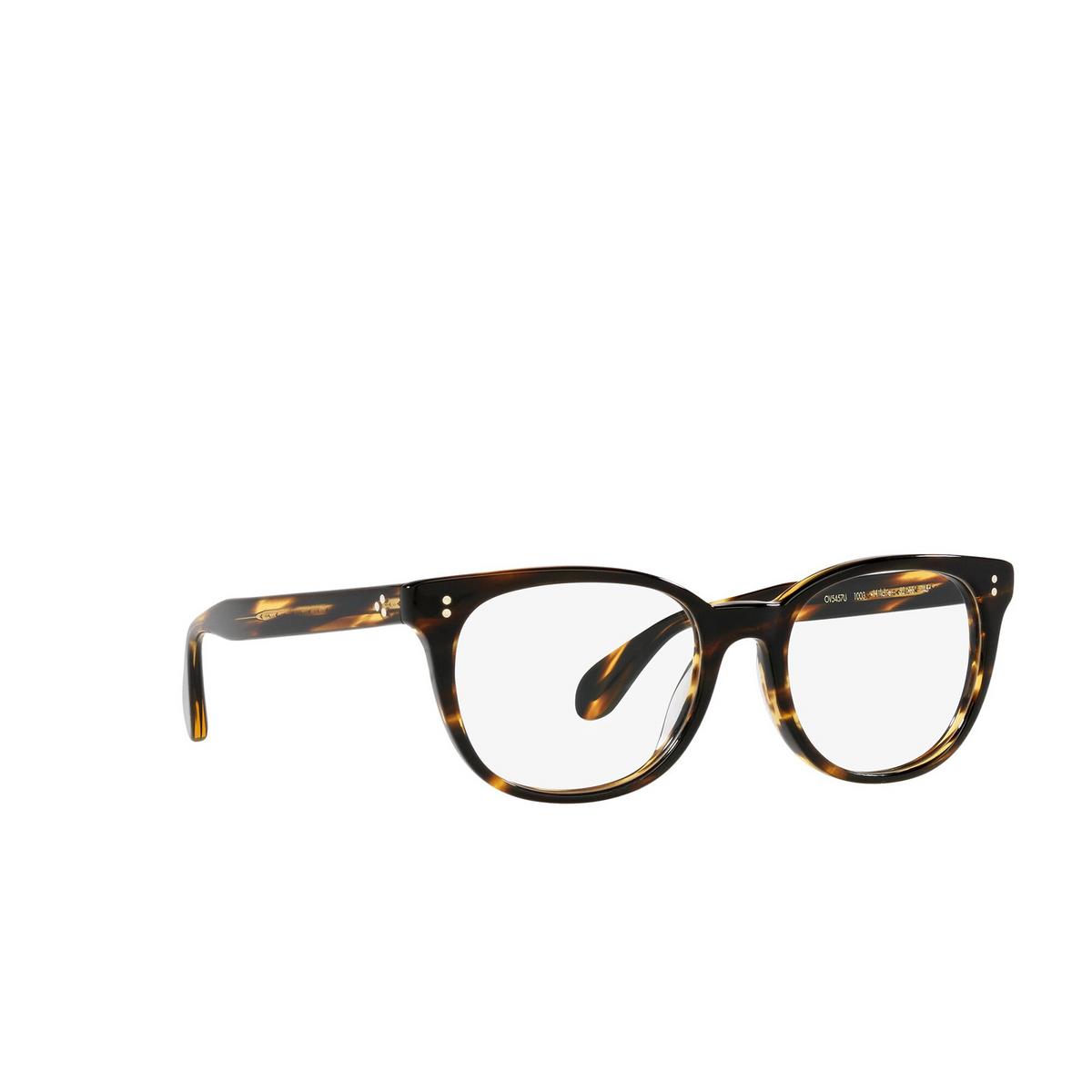 Oliver Peoples® Cat-eye Eyeglasses: Hildie OV5457U color Cocobolo 1003 - three-quarters view.
