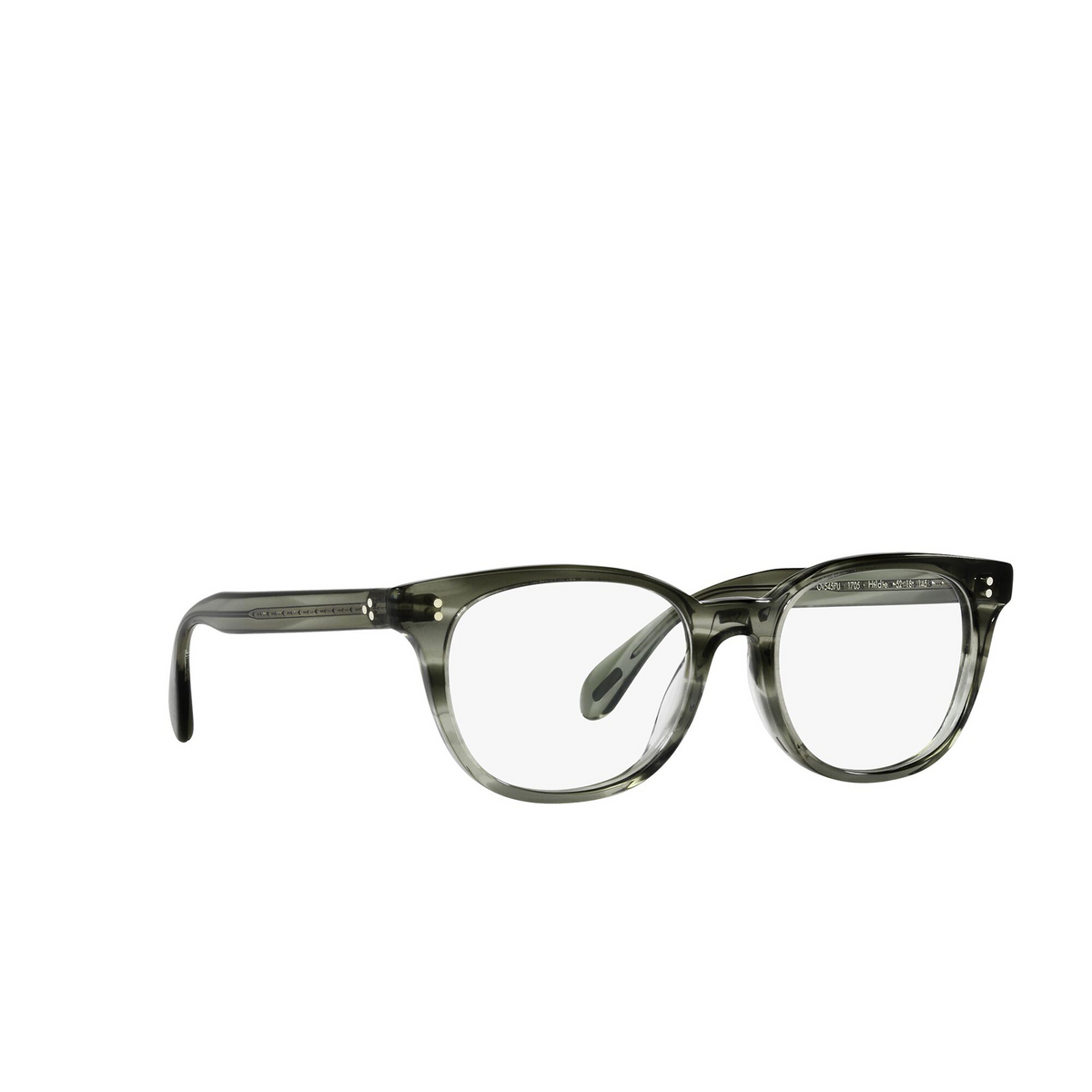Oliver Peoples® Cat-eye Eyeglasses: Hildie OV5457U color Washed Jade 1705 - three-quarters view.