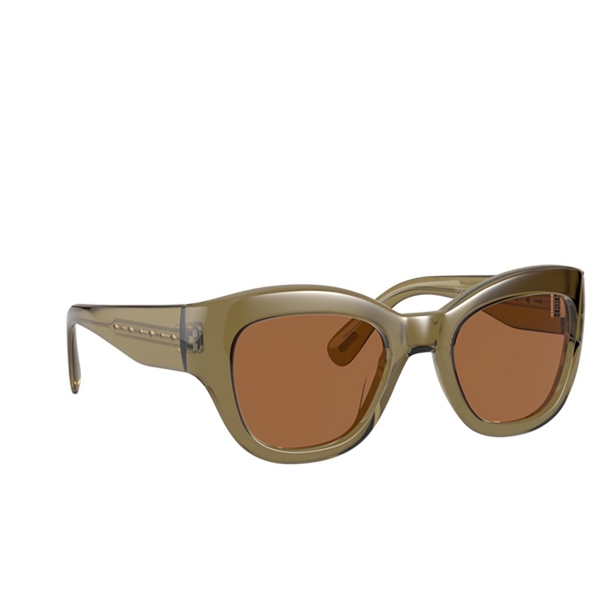 Oliver Peoples® Butterfly Sunglasses: Lalit OV5430SU color Dusty Olive 167873 - three-quarters view.