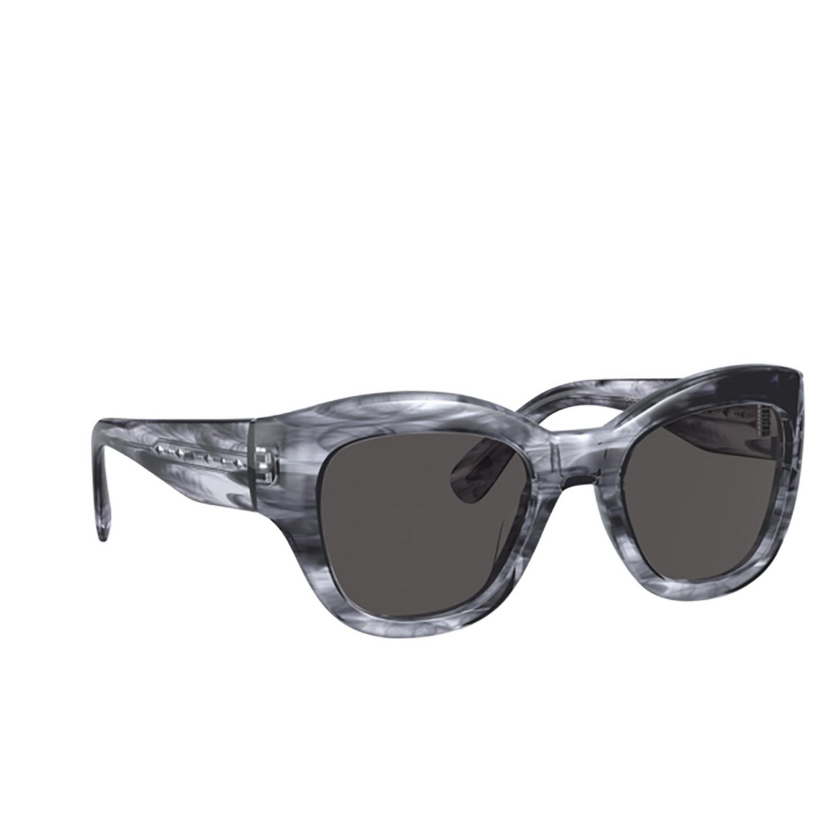 Oliver Peoples® Butterfly Sunglasses: Lalit OV5430SU color Navy Smoke 168887 - three-quarters view.