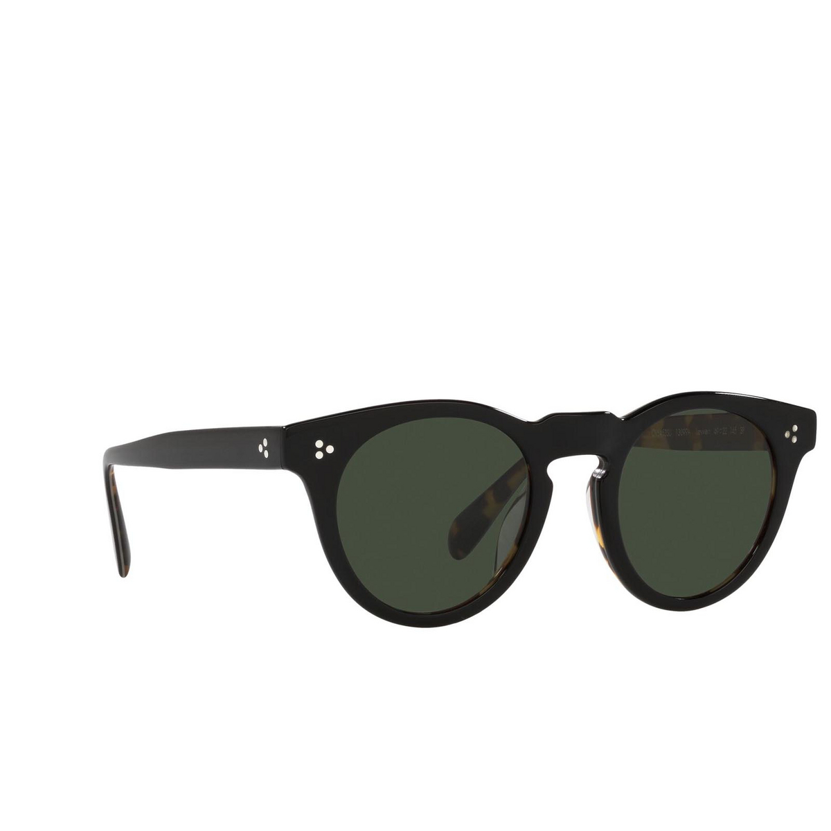 Oliver Peoples® Round Sunglasses: Lewen OV5453SU color Black/dtbk 13099A - three-quarters view.