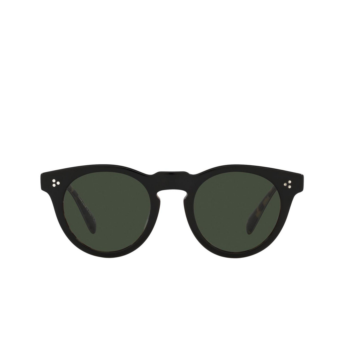 Oliver Peoples® Round Sunglasses: Lewen OV5453SU color Black/dtbk 13099A - front view.