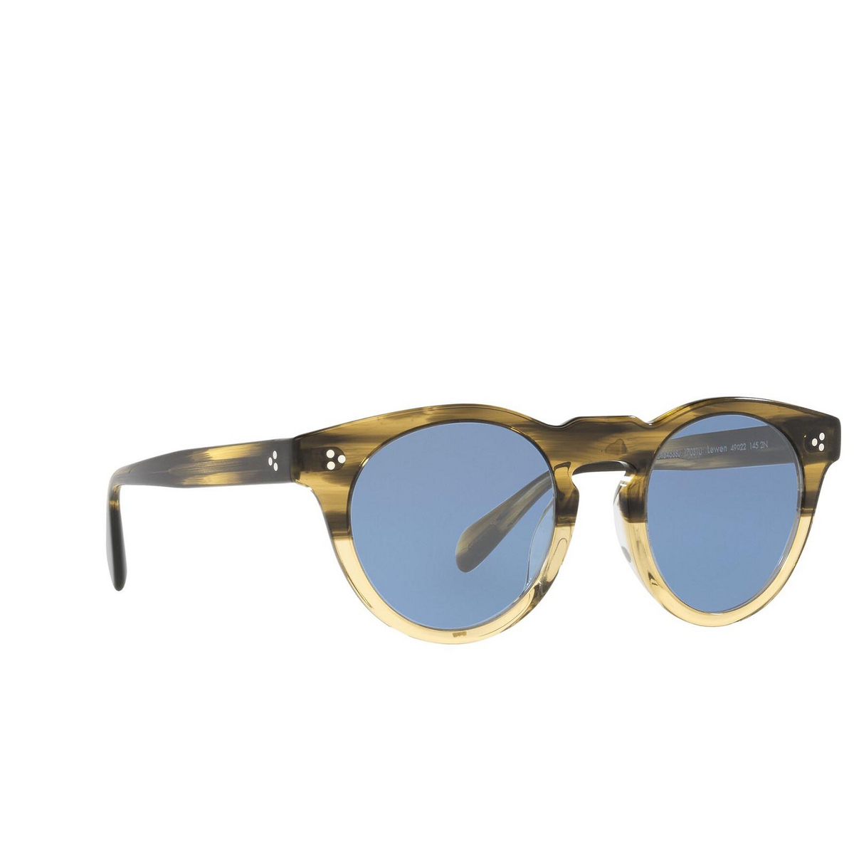 Oliver Peoples® Round Sunglasses: Lewen OV5453SU color Canarywood Gradient 17031U - three-quarters view.
