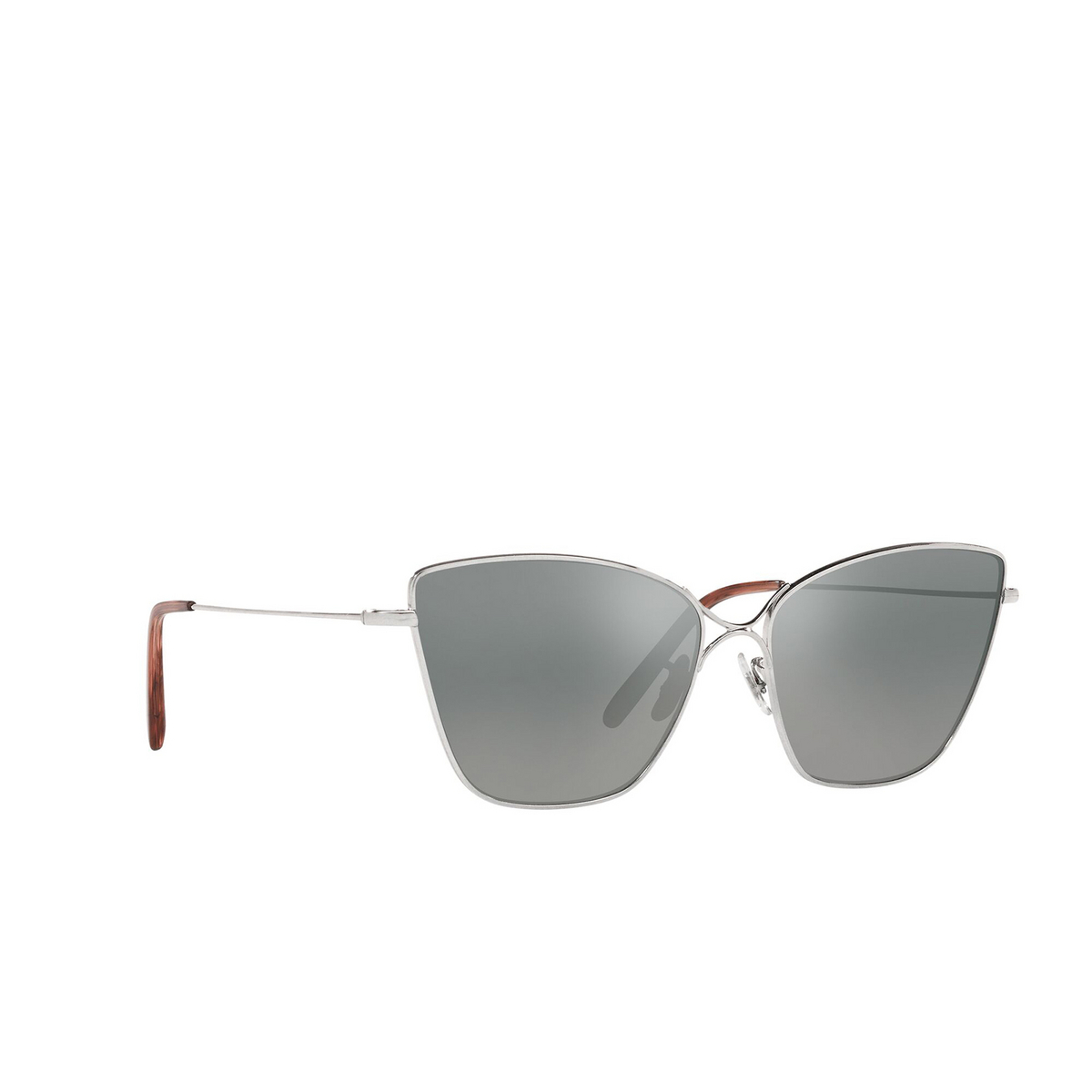 Oliver Peoples® Butterfly Sunglasses: Marlyse OV1288S color Silver 50366I - three-quarters view.