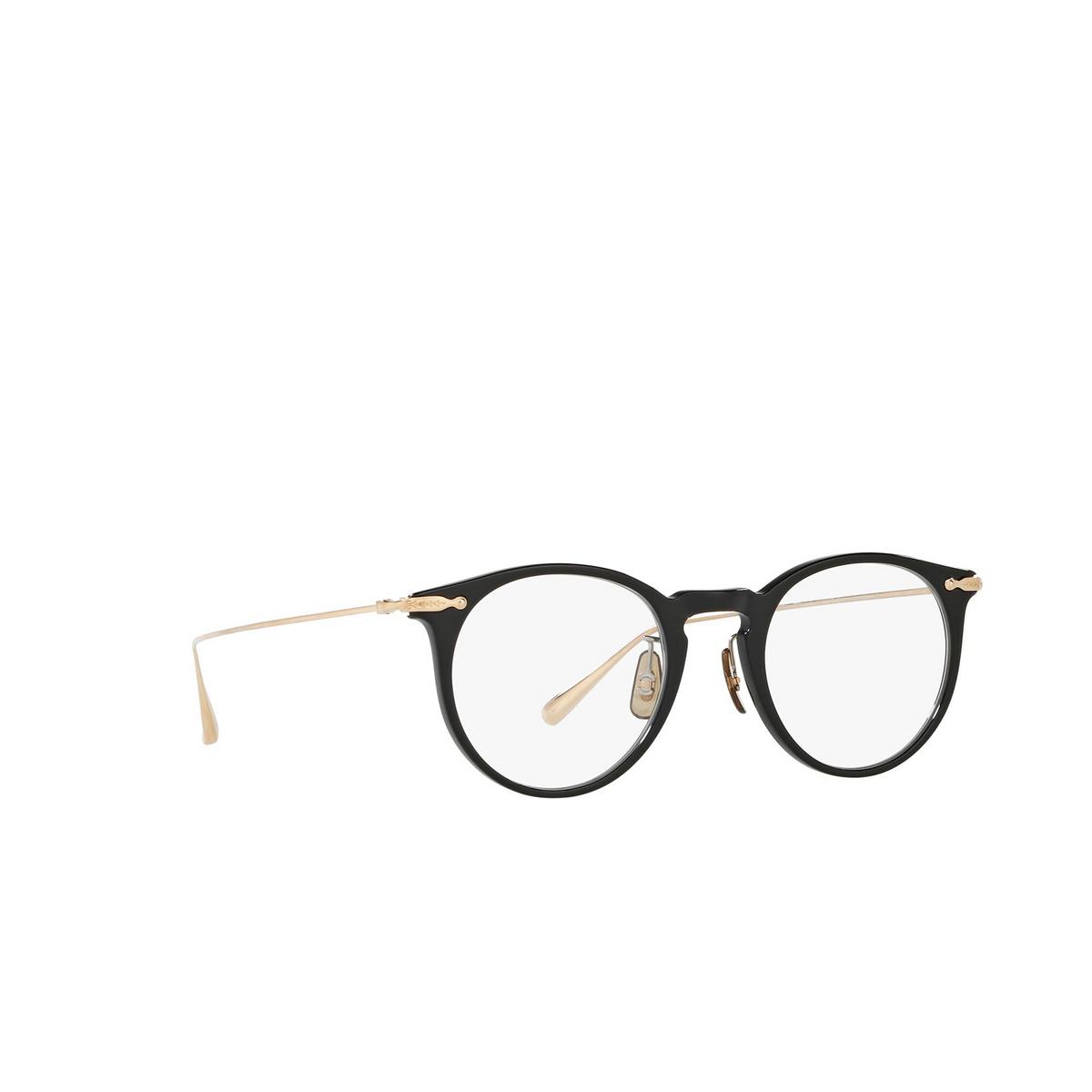 Oliver Peoples® Round Eyeglasses: Marret OV5343D color Black 1005 - three-quarters view.