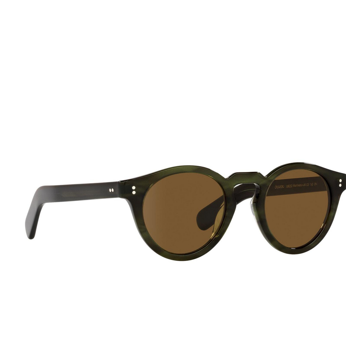 Oliver Peoples® Round Sunglasses: Martineaux OV5450SU color Emerald Bark 168053 - three-quarters view.