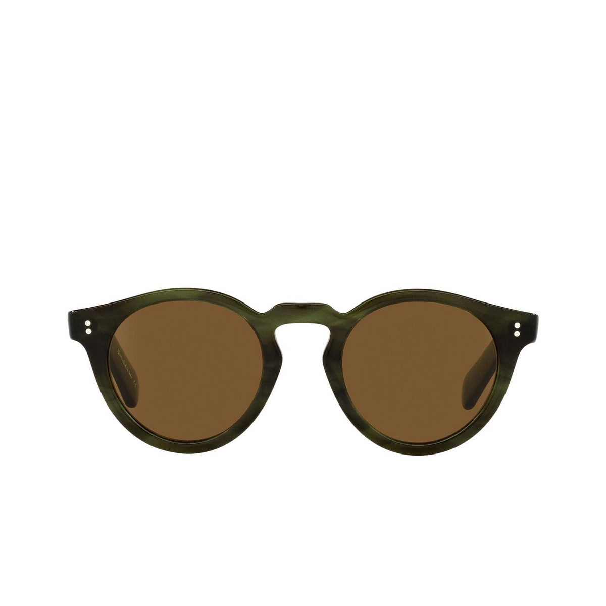 Oliver Peoples® Round Sunglasses: Martineaux OV5450SU color Emerald Bark 168053 - front view.