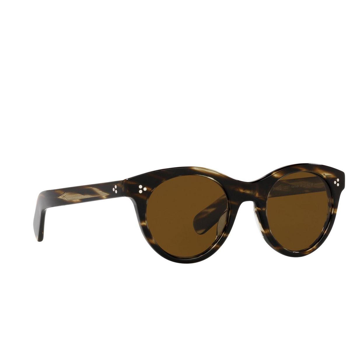 Oliver Peoples® Round Sunglasses: Merrivale OV5451SU color Cocobolo 100357 - three-quarters view.