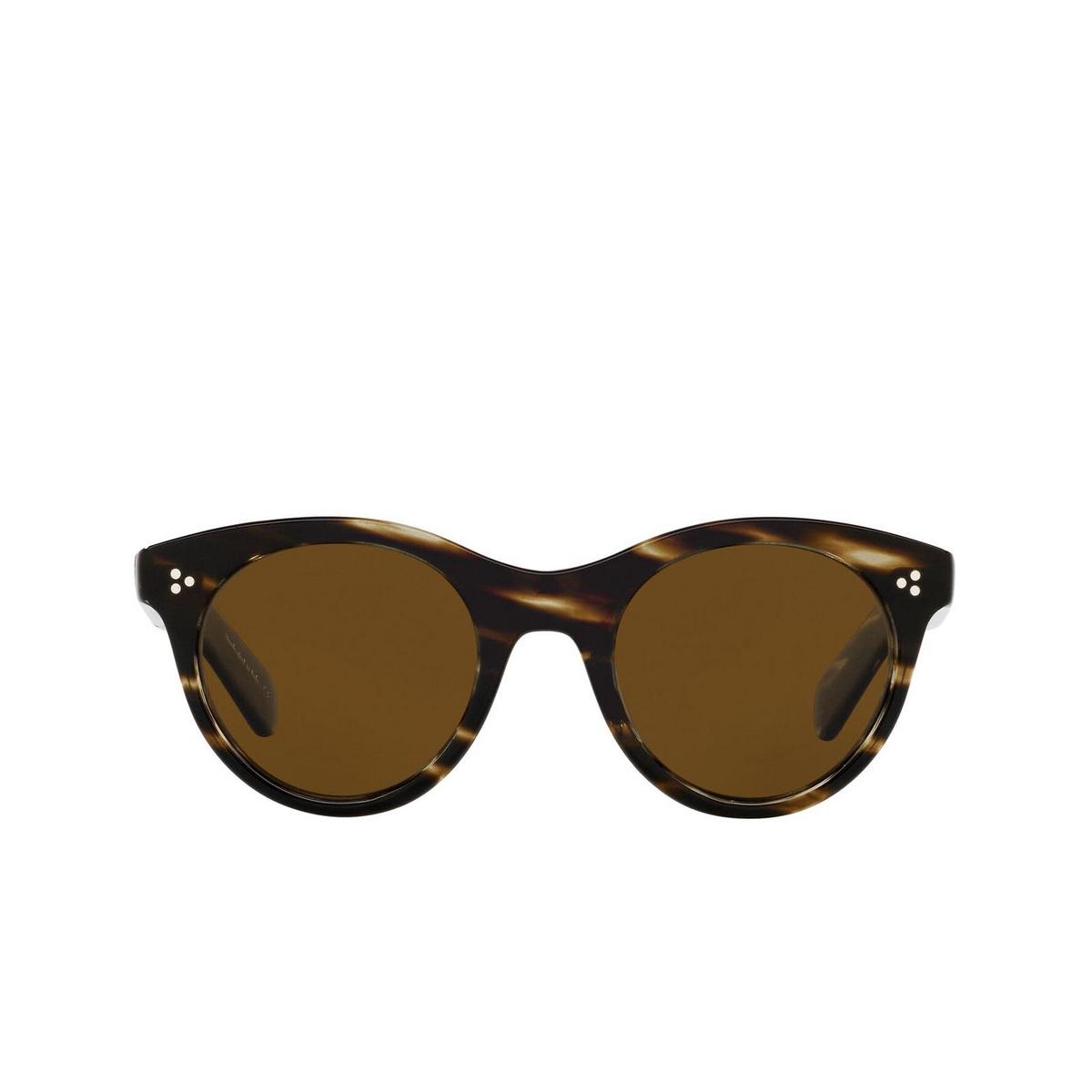 Oliver Peoples® Round Sunglasses: Merrivale OV5451SU color Cocobolo 100357 - front view.