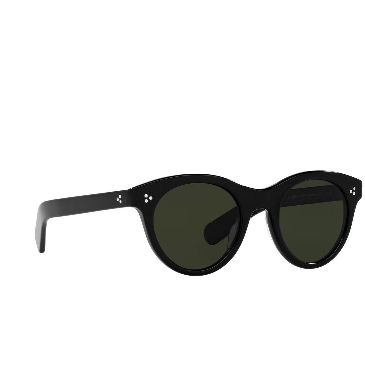 Oliver Peoples® Round Sunglasses: Merrivale OV5451SU color Black 1005P1 - three-quarters view.